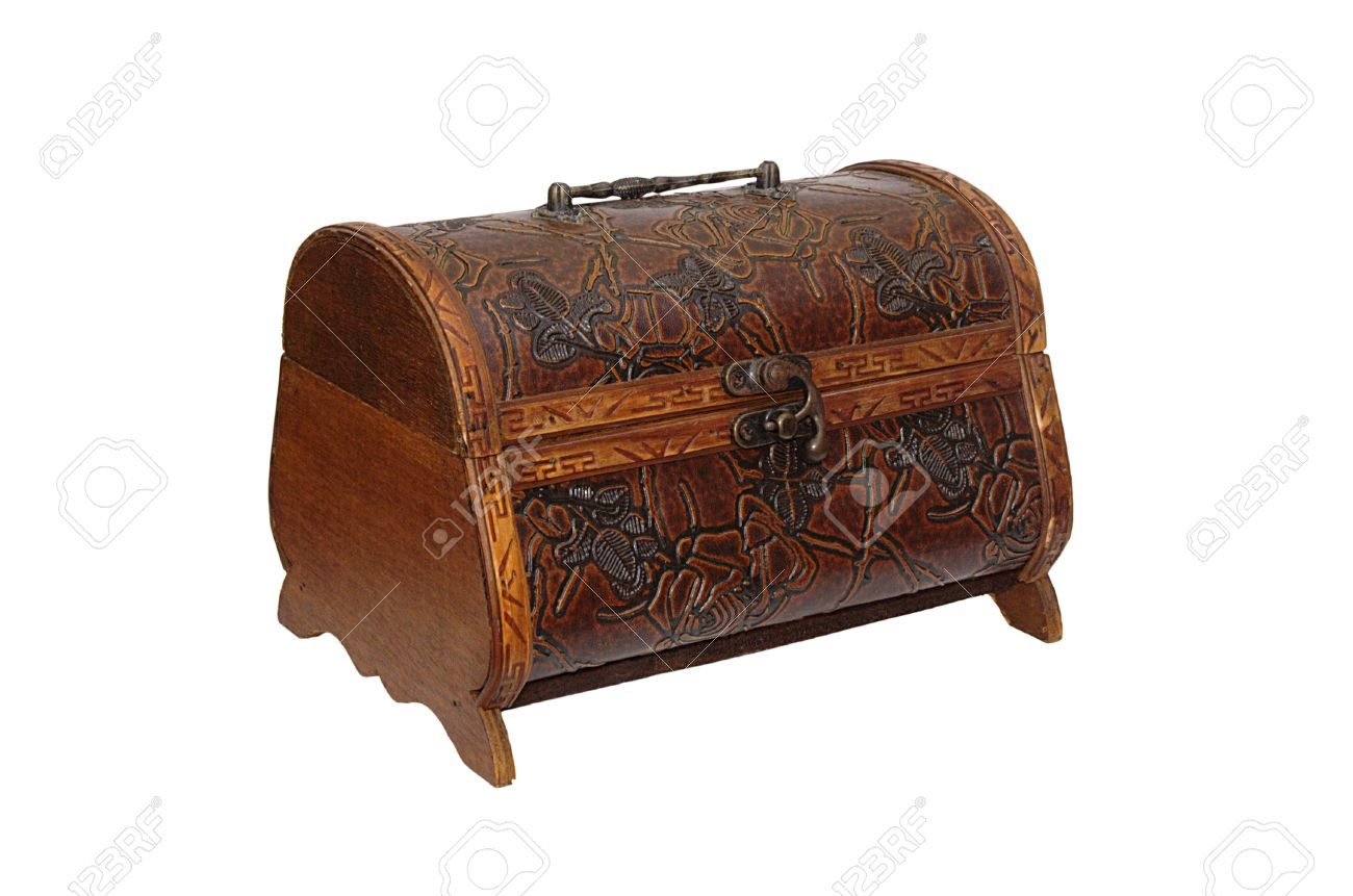 Handmade Brown Casket For A Small Things Made From Wood And Leather Isolated On White Stock