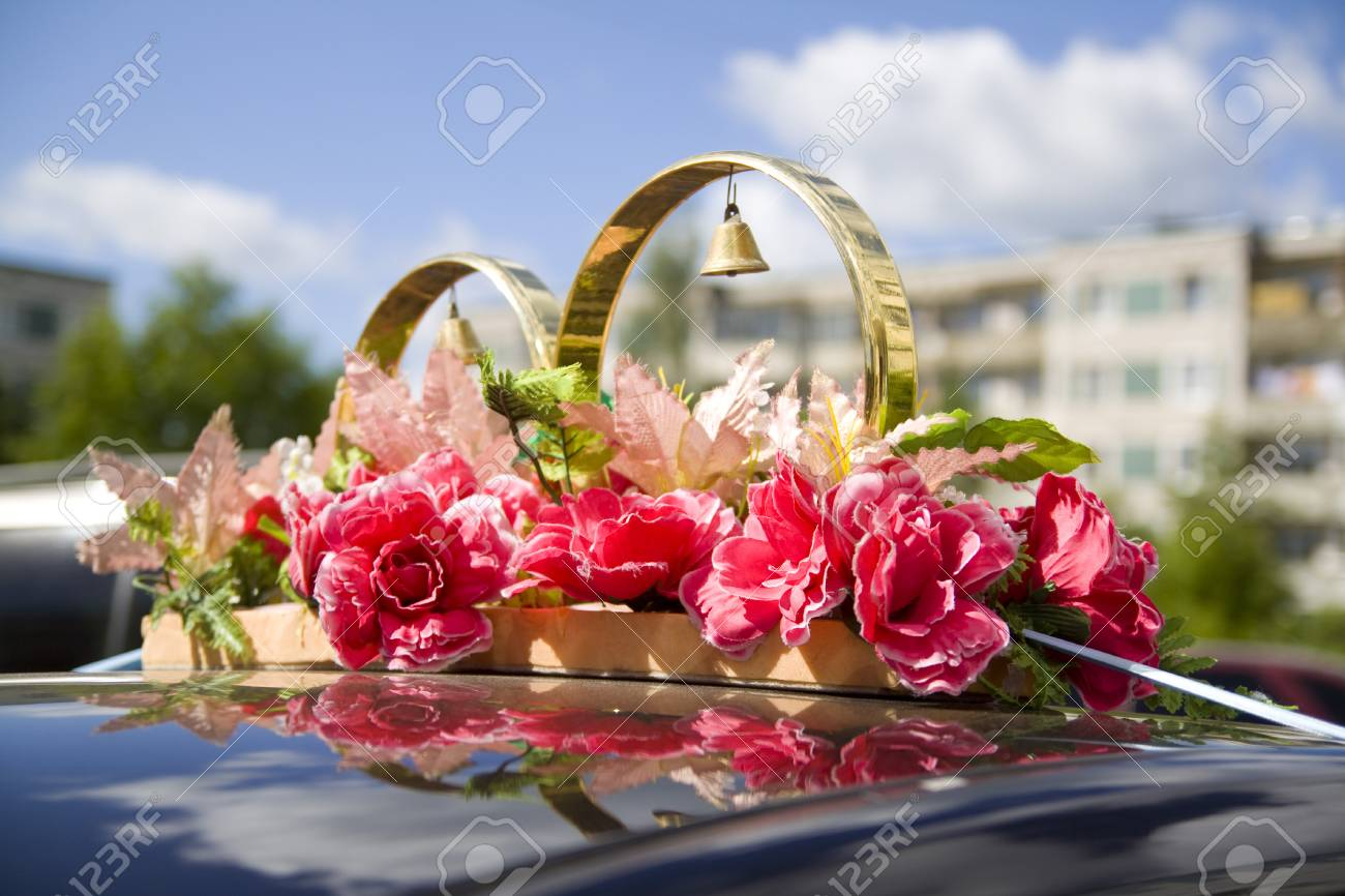Wedding props wedding rings flowers wedding decoration items stock photo wedding props wedding rings flowers wedding decoration items rings decorations on the car junglespirit