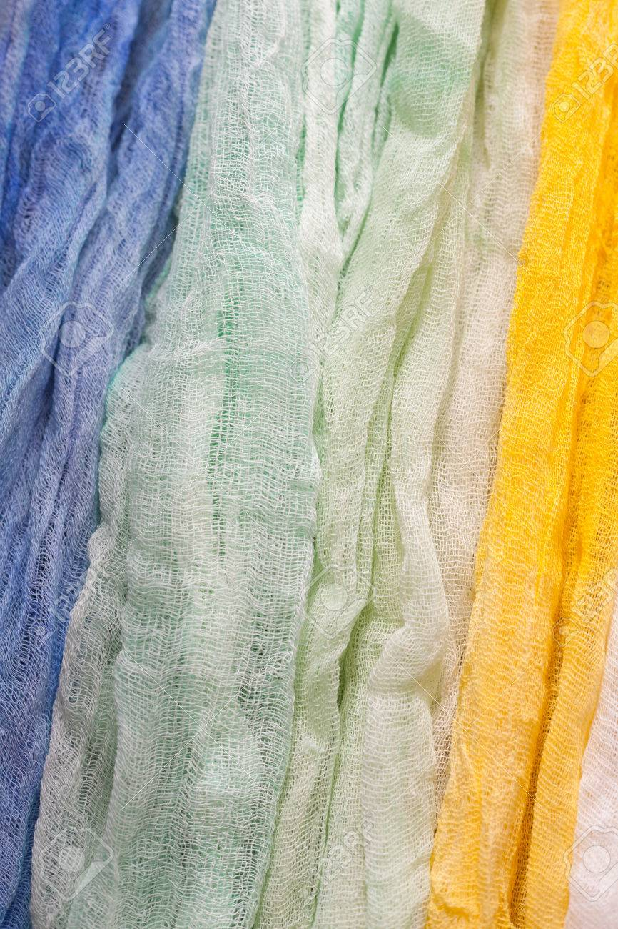 painted gauze pieces of fabric for a nice bright background