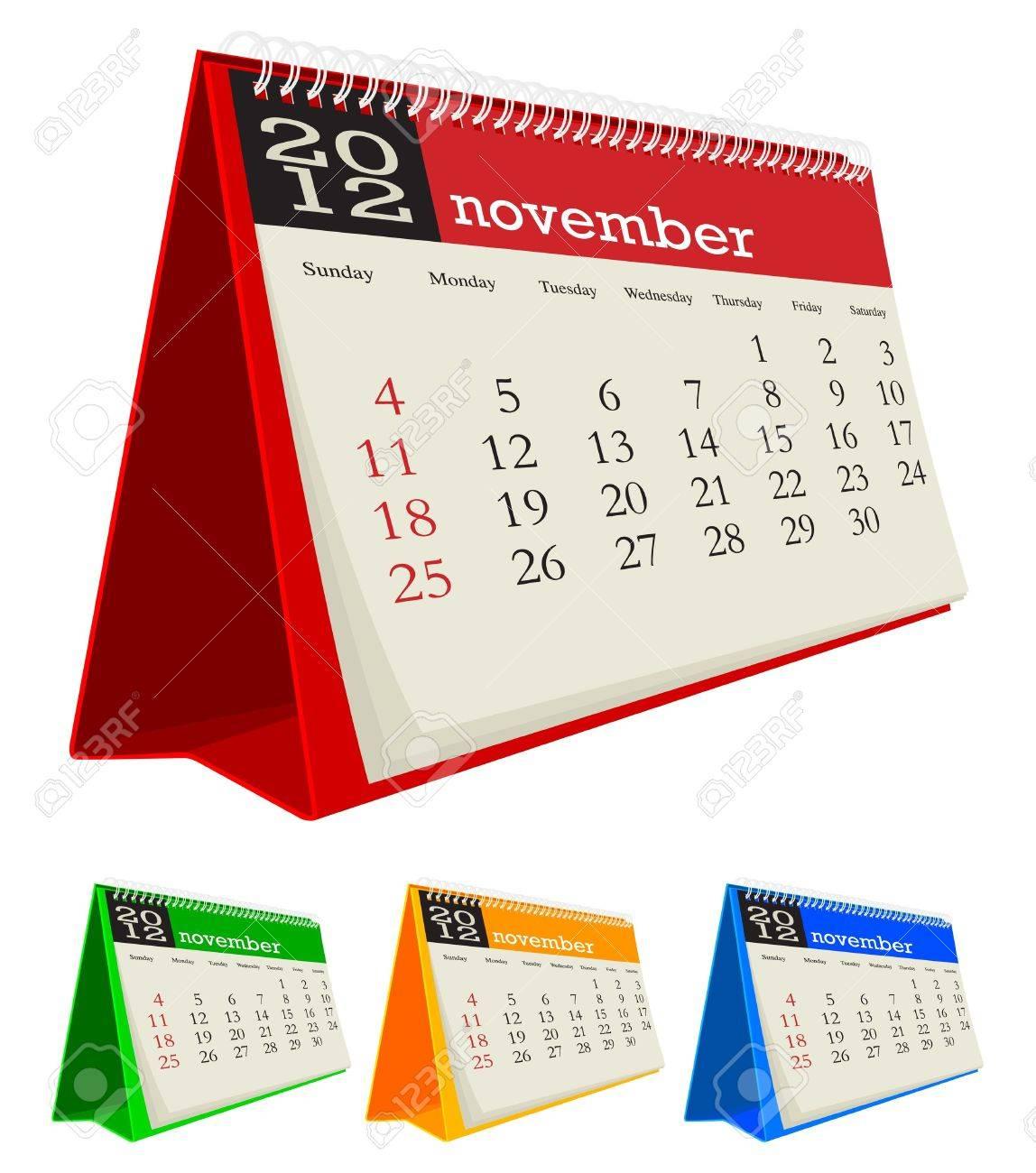 november 2012 desk calendar Stock Vector - 10619033