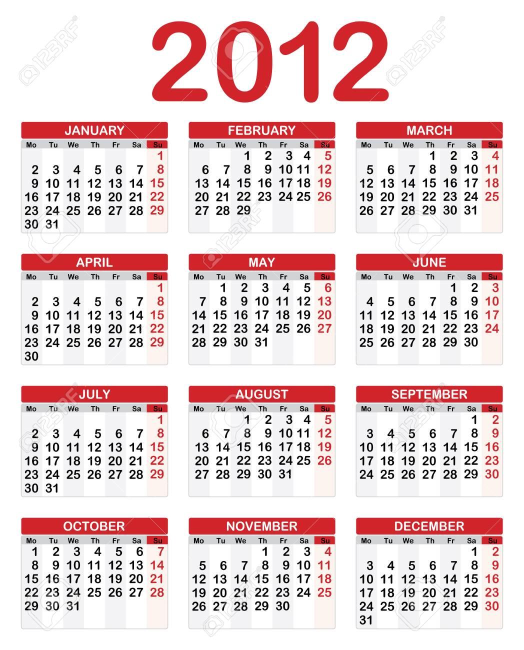 2012 Calendar Stock Vector - 10918253