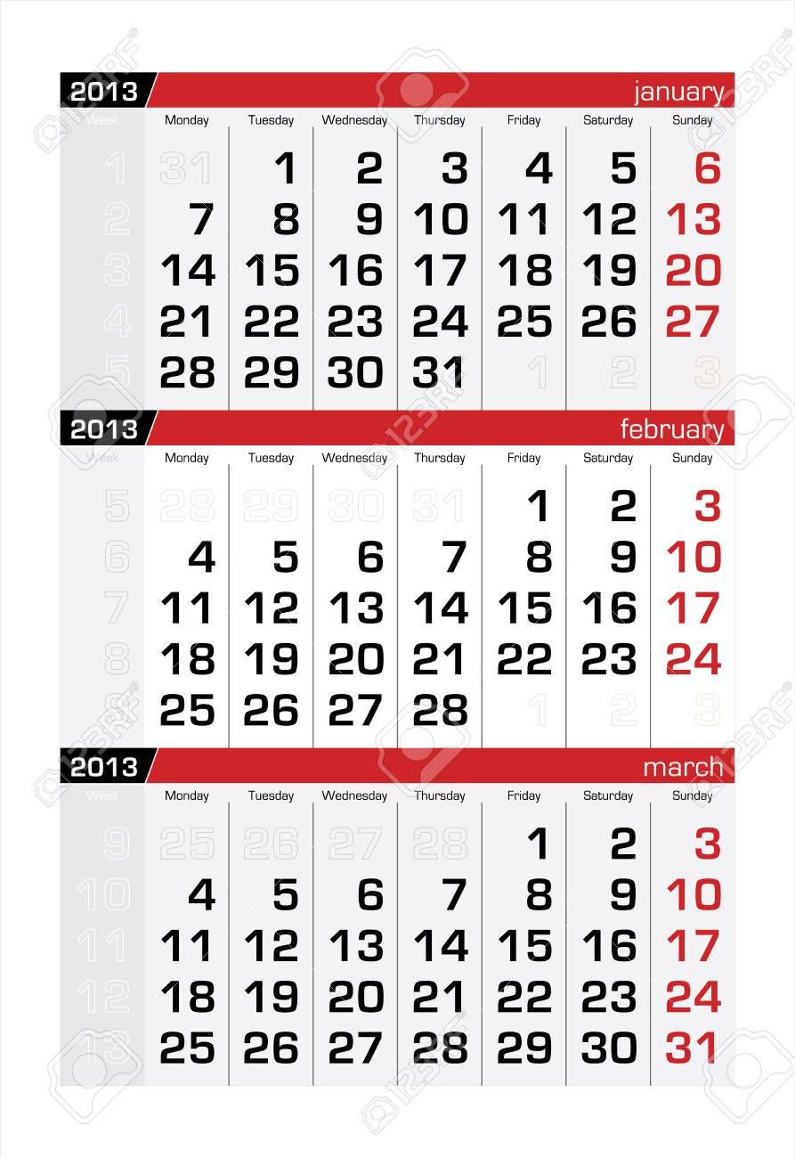 February 2013 Three-Month Calendar Stock Vector - 16439767