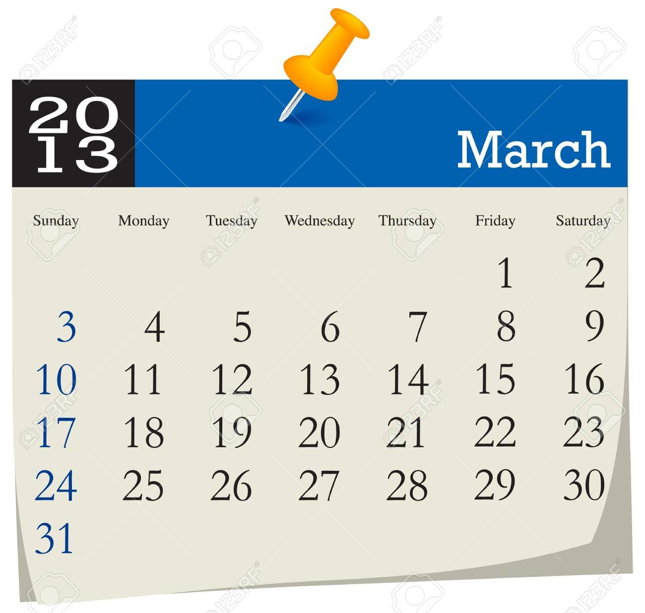 March 2013 Calendar Stock Vector - 16439803