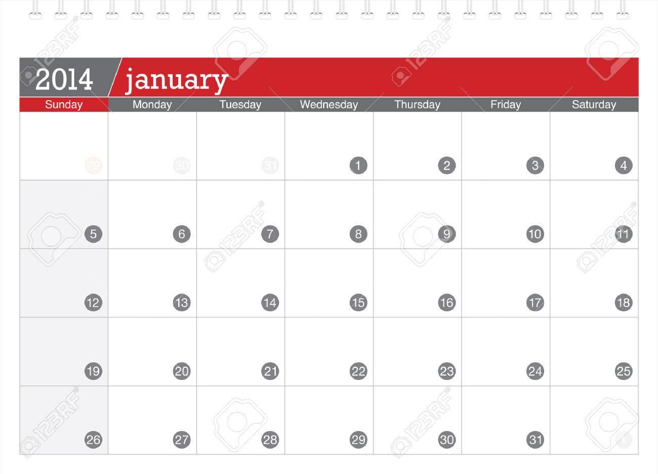 january 2014-planning calendar Stock Vector - 23768094