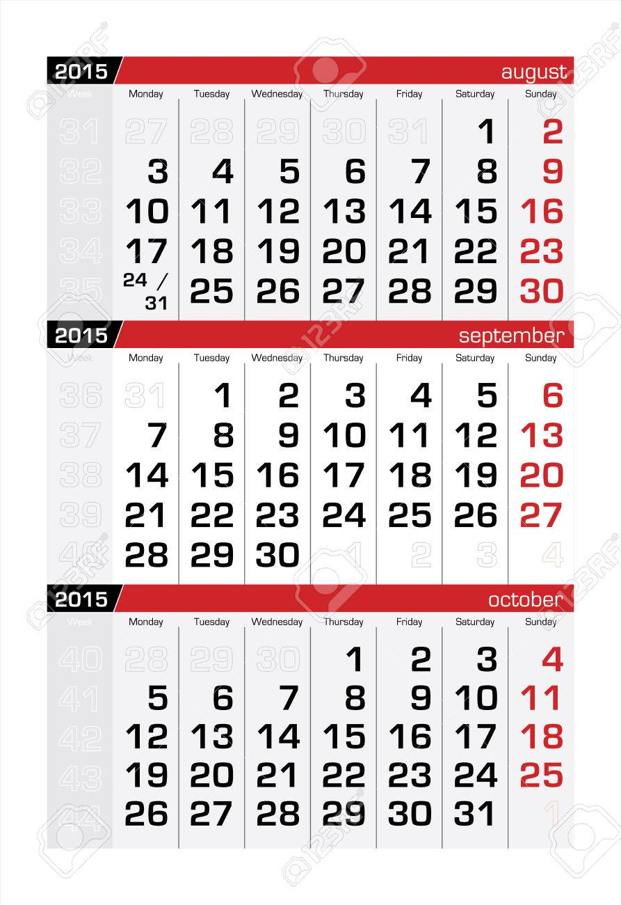 2015 three month calendar september royalty free cliparts vectors