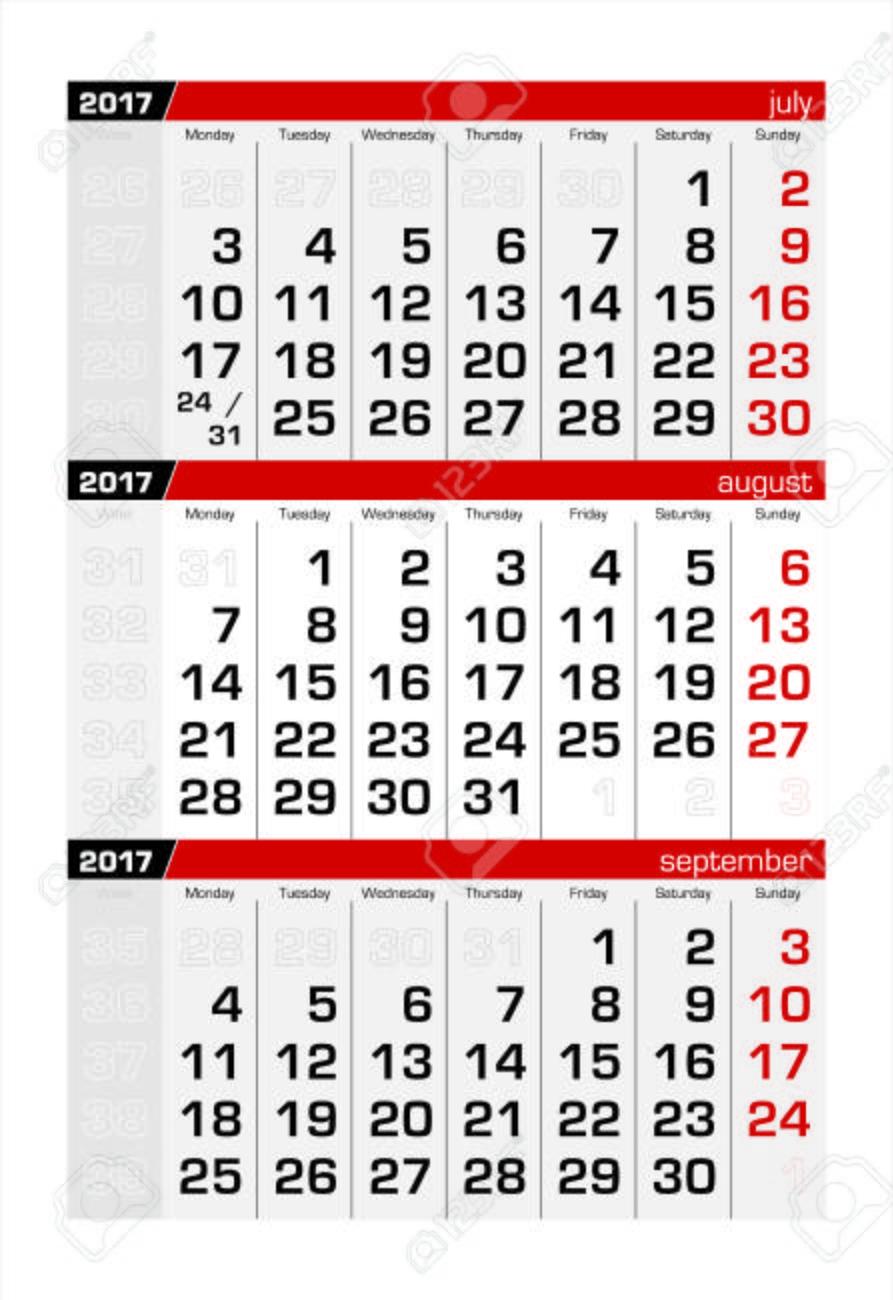 17 年 8 月 3 か月カレンダーのイラスト素材 ベクタ Image