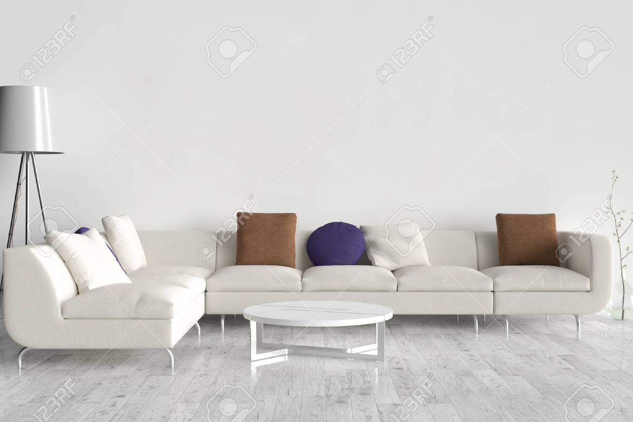 Wall Bed And Chair Modern Mid Century Bedside Table And White Stock Photo Picture And Royalty Free Image Image 142555222