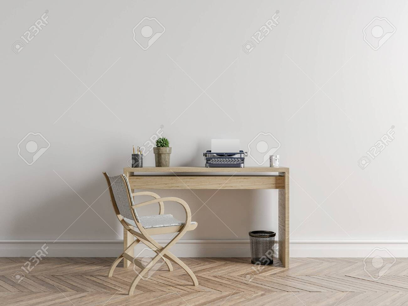 Wall Bed And Chair Modern Mid Century Bedside Table And White Stock Photo Picture And Royalty Free Image Image 142847994