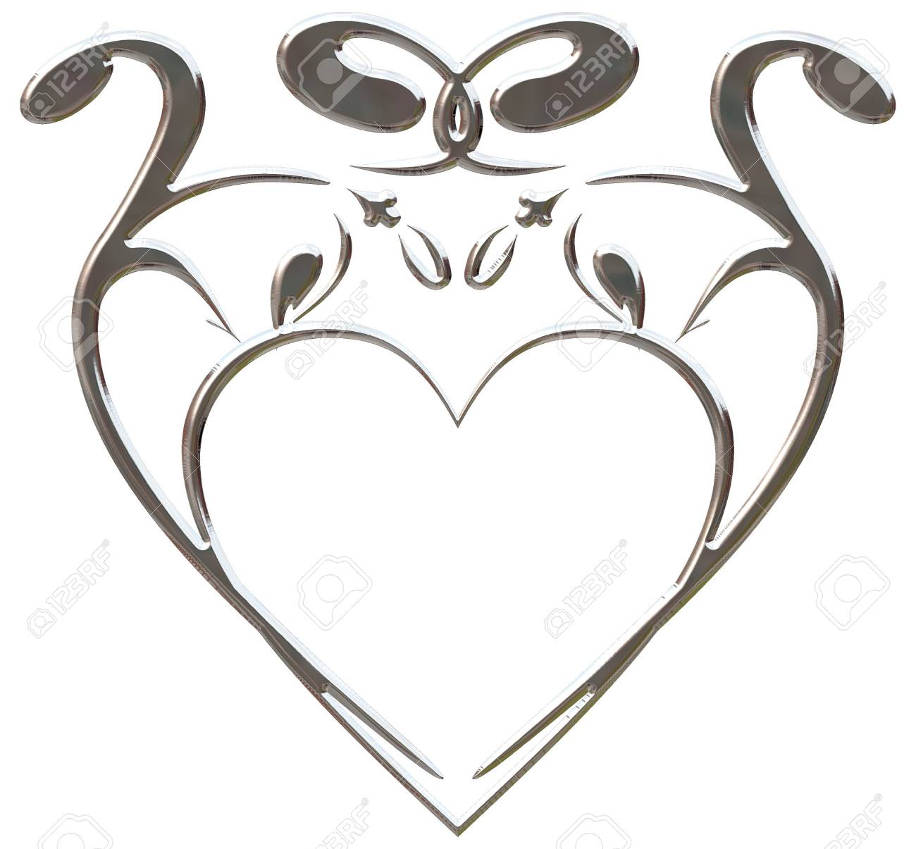 Illustration of isolated nature heart frame with metal finish, paths included in file. Stock Photo - 2300975