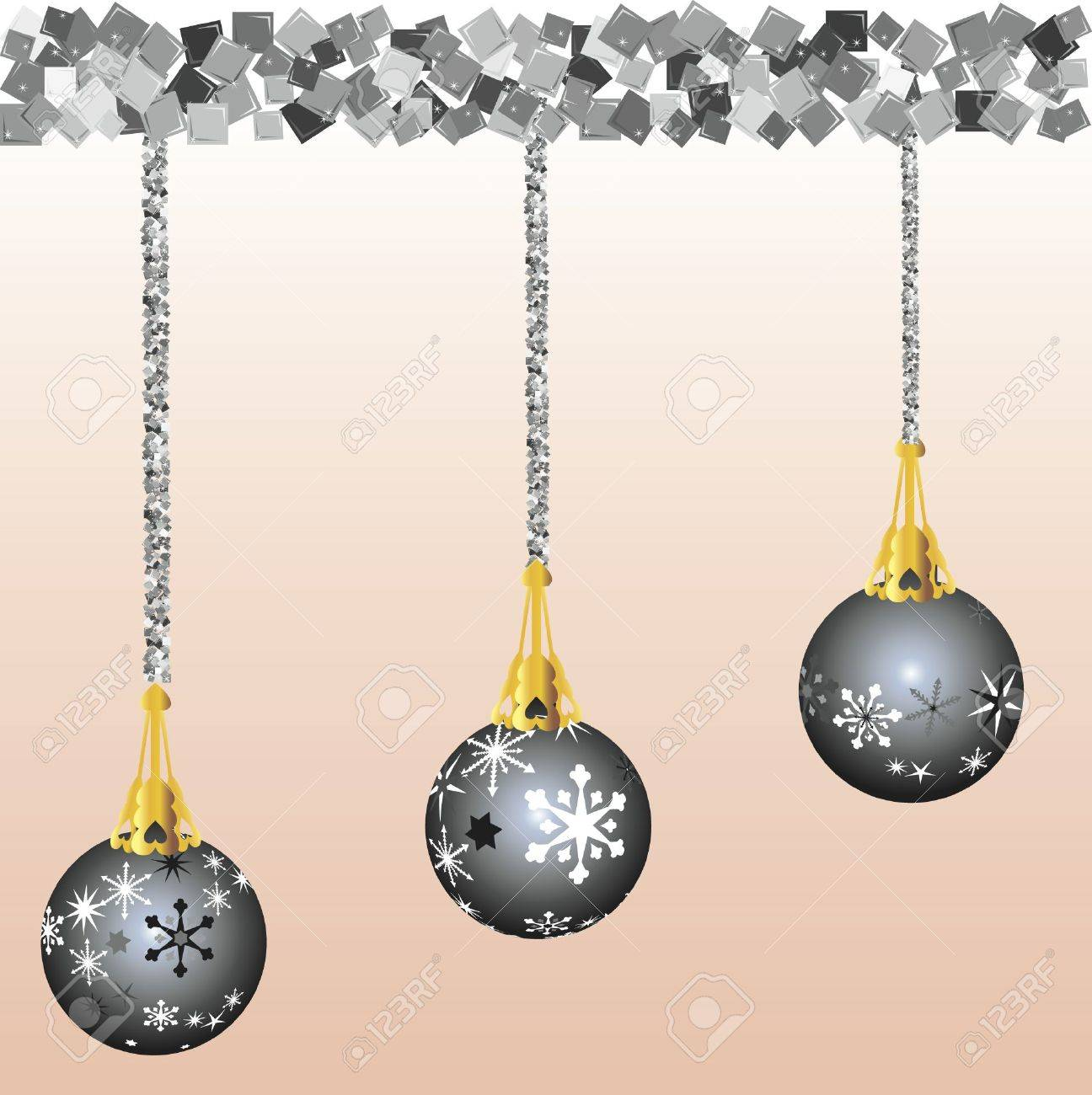 Christmas decorations illustrated with black and white snowflakes on a peach background. Each ornament is unique, hanging on stings of Garland. Stock Photo - 2426322