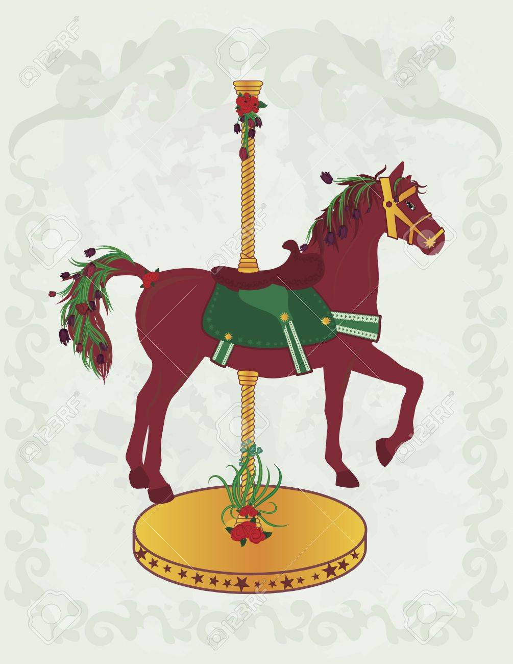 Illustration Of A Spring Inspired Carousel Horse The Drawing Stock Photo Picture And Royalty Free Image Image 2453794