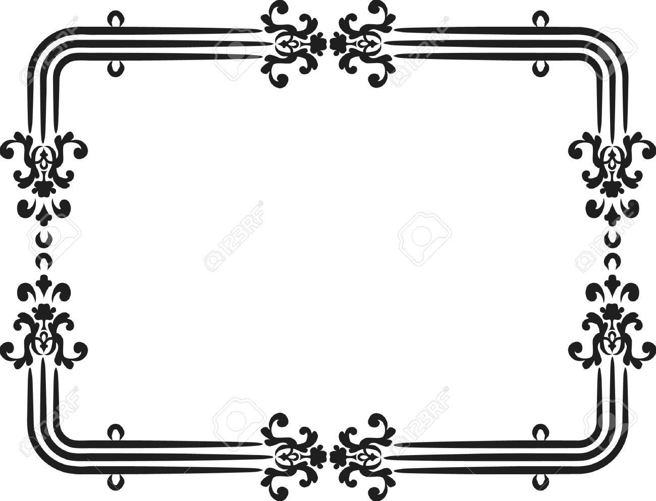 Abstract floral frame element. No Gradients, one color. Stock Vector - 2465367