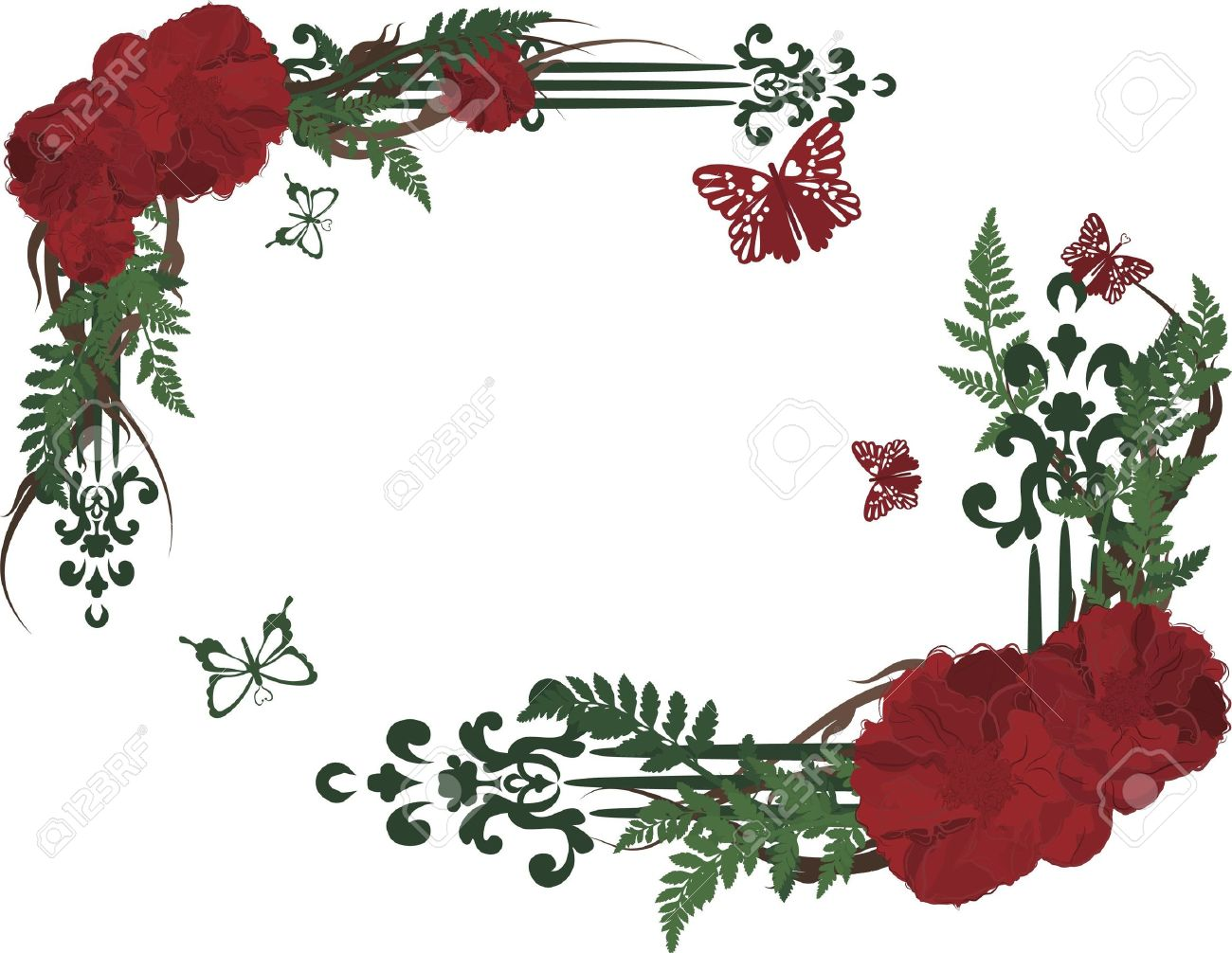 Drawing Of Rose Frame Elements With Butterflies. Stock Photo ...