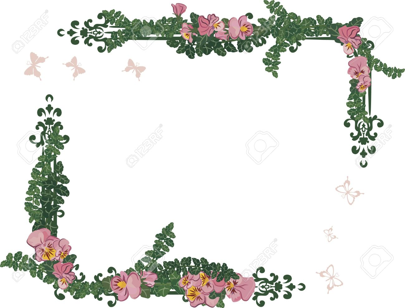 stock photo drawing of pansy frame elements with butterflies