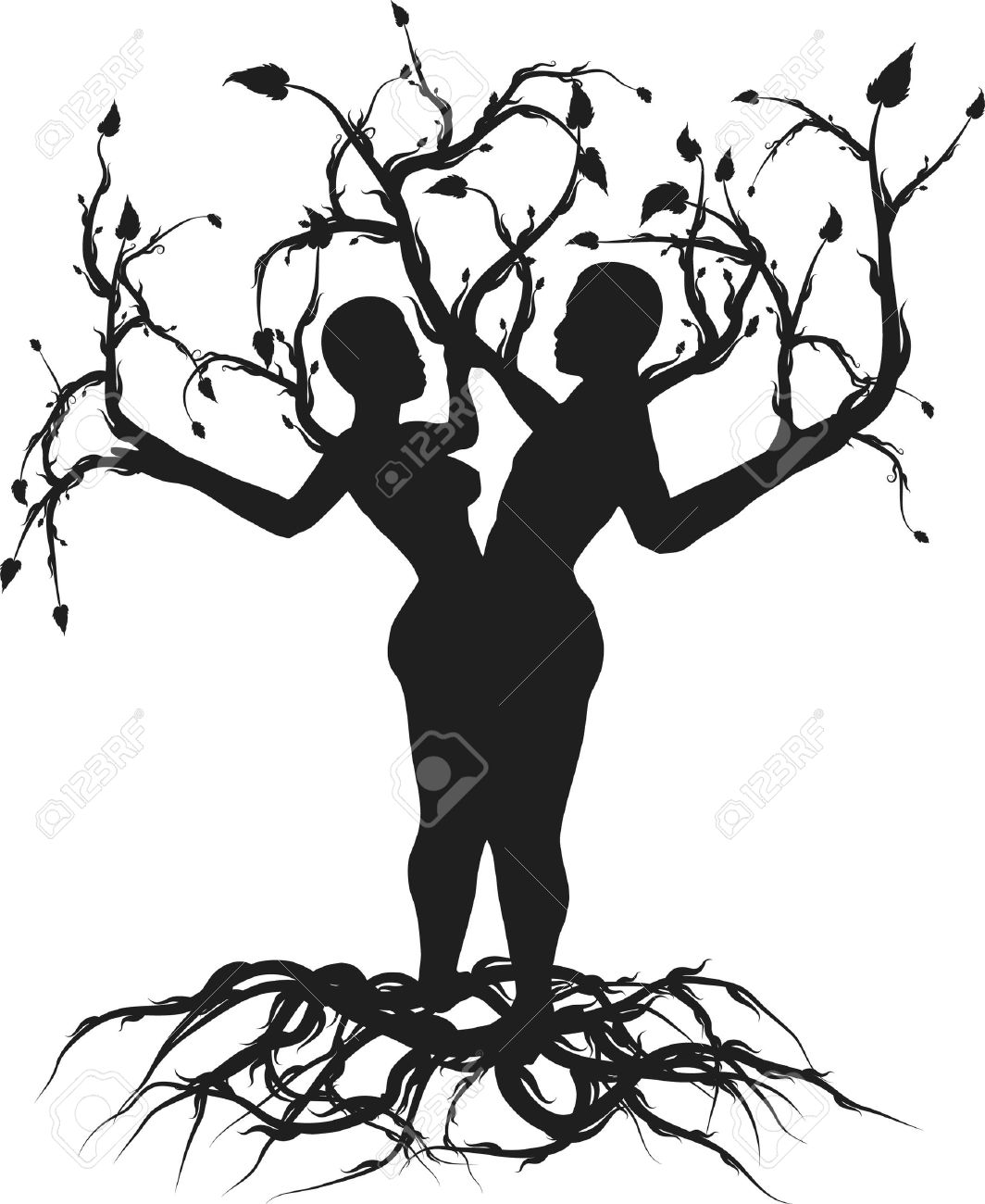 Ilustración Conceptual Del árbol De La Vida Uno Color
