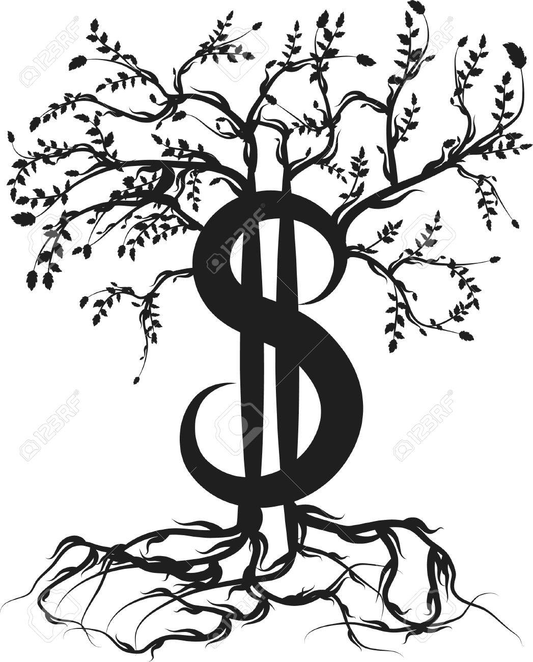 Money with roots and healthy growth. One color. Stock Vector - 3231023