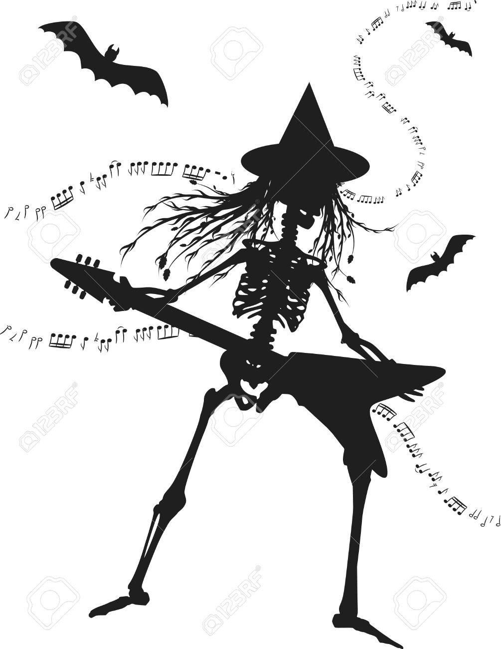 Bruja Esqueleto Tocando Una Guitarra Eléctrica. Un Color ...