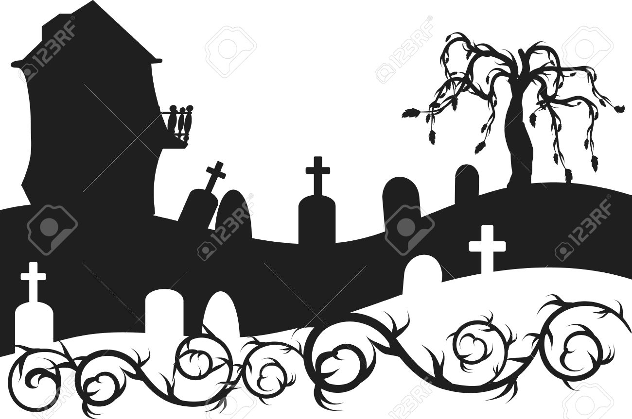 halloween haunted house with graveyard illustration one color rh 123rf com
