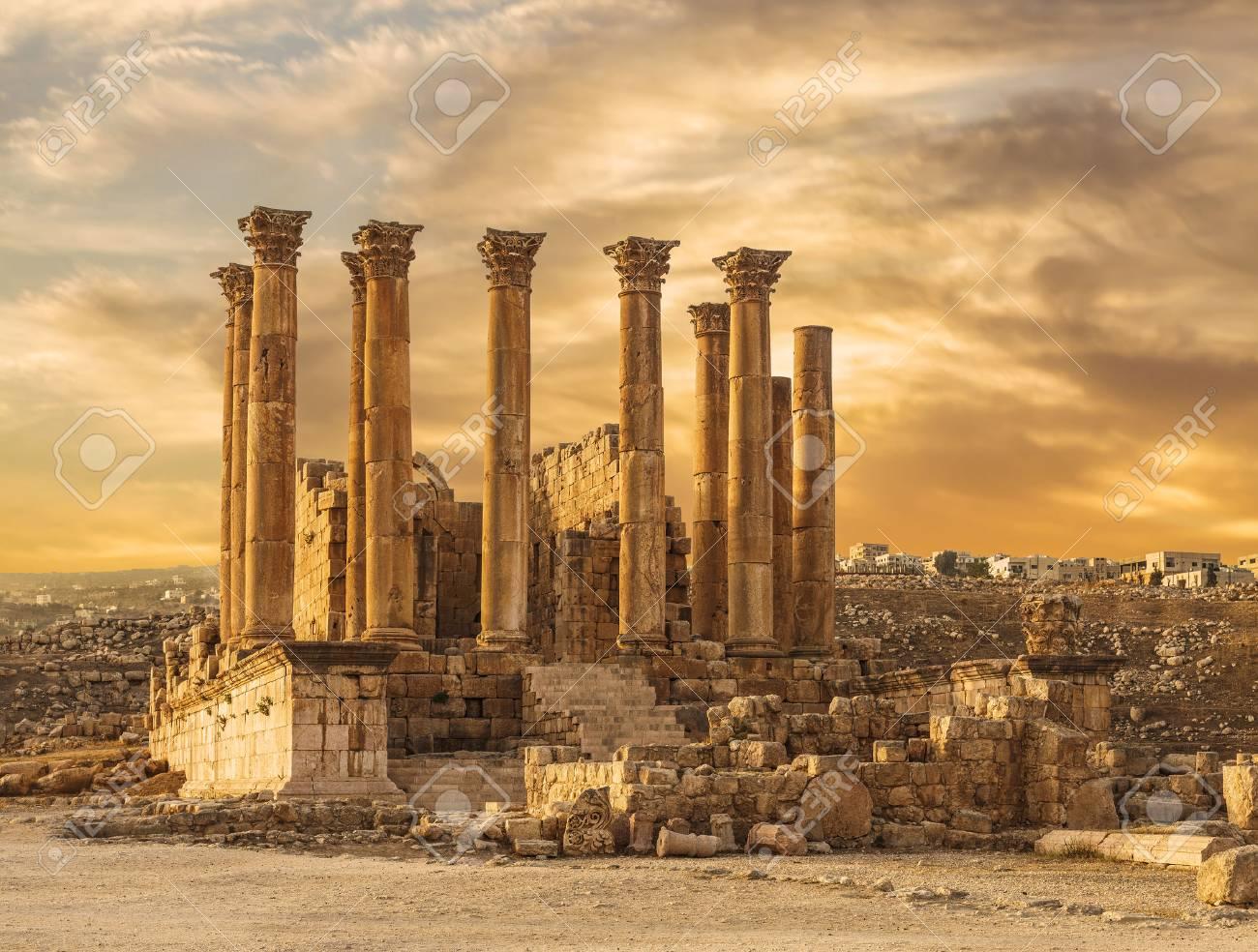 Temple of Artemis in the ancient Roman city of Gerasa at the sunset, preset-day Jerash, Jordan - 70815485