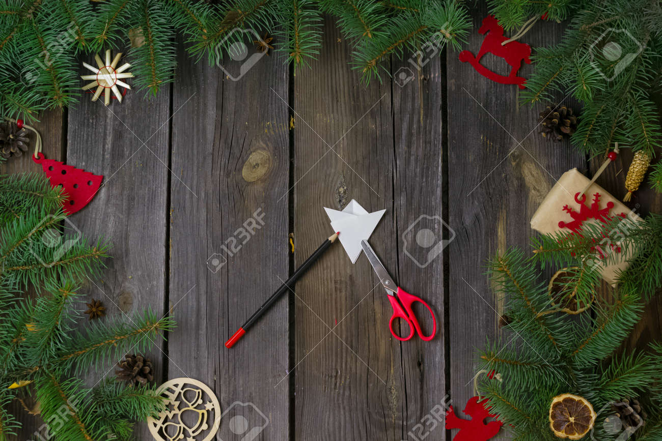 Diy Christmas And Happy New Year Greeting Card On A Wooden Table Stock Photo Picture And Royalty Free Image Image 159473254