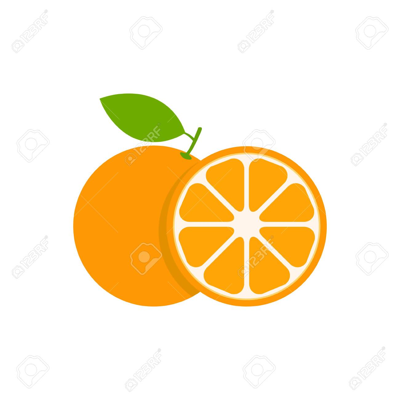 Orange set vector icon illustration isolated on white. Fruit citrus with pieces or slices. - 146576620