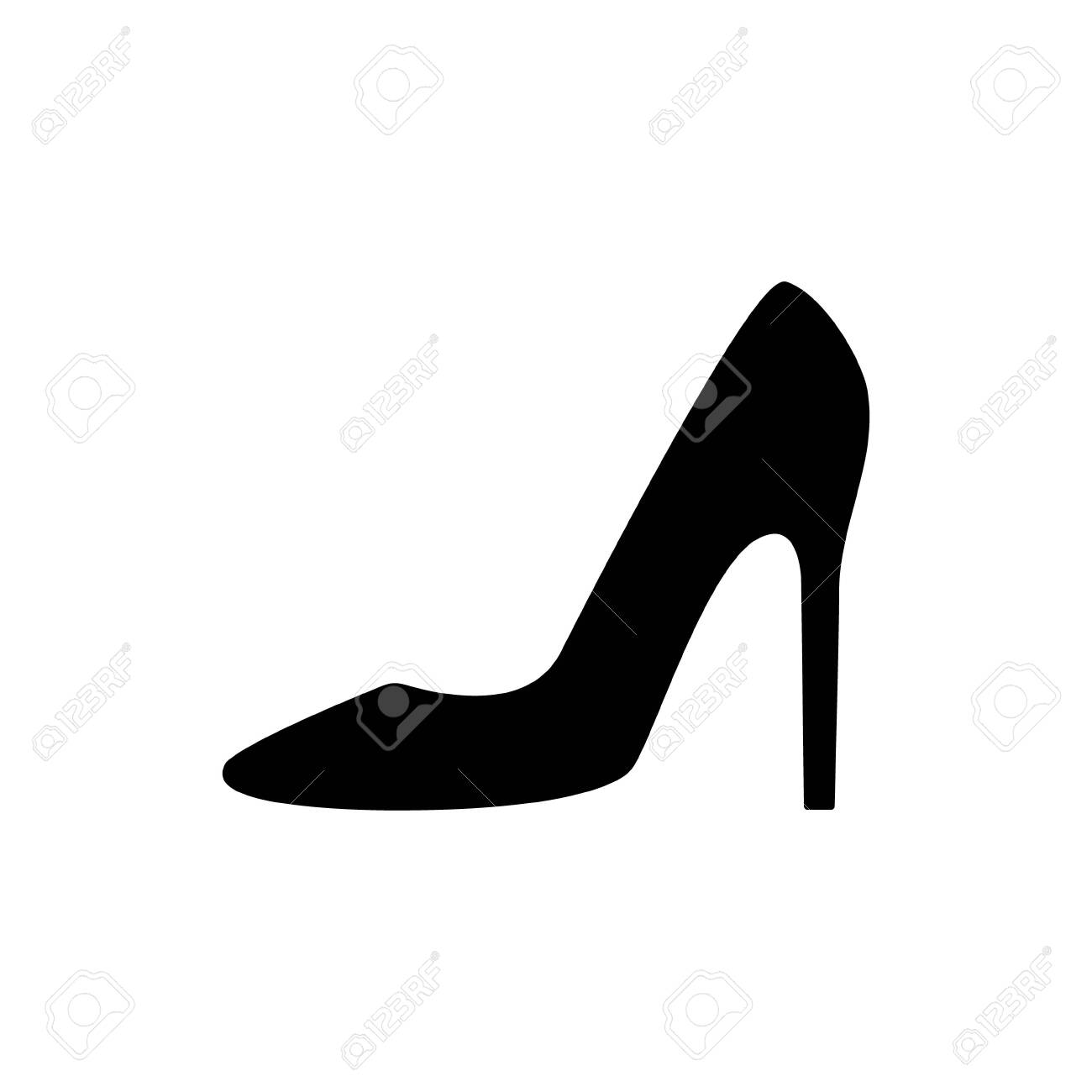 Women shoes icon. Women high-heeled shoes outline vector illustration isolated on white. - 153562017