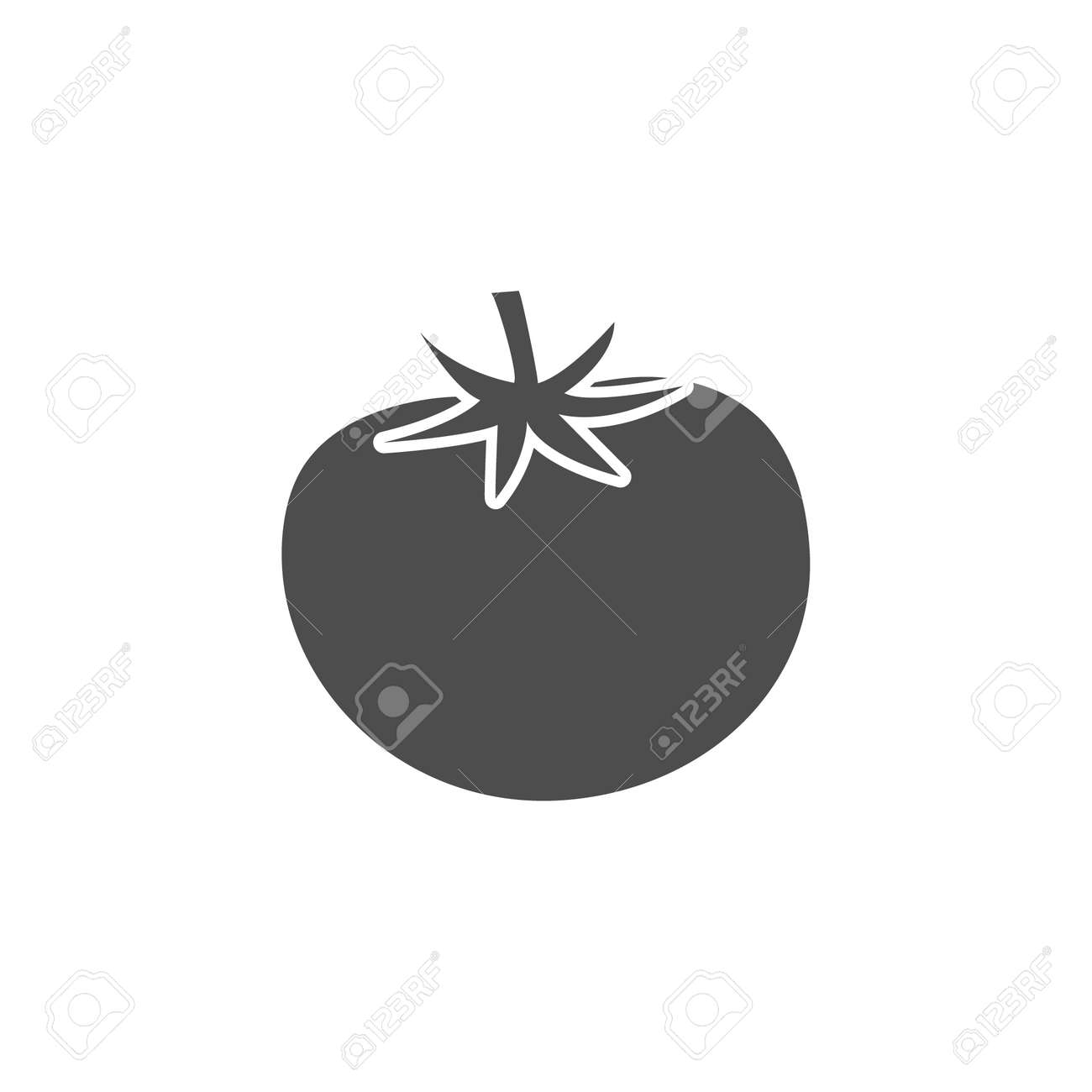 Tomato black icon. Healthy tasty food vegetable symbol. Tomato outline vector isolated on white. - 159629779
