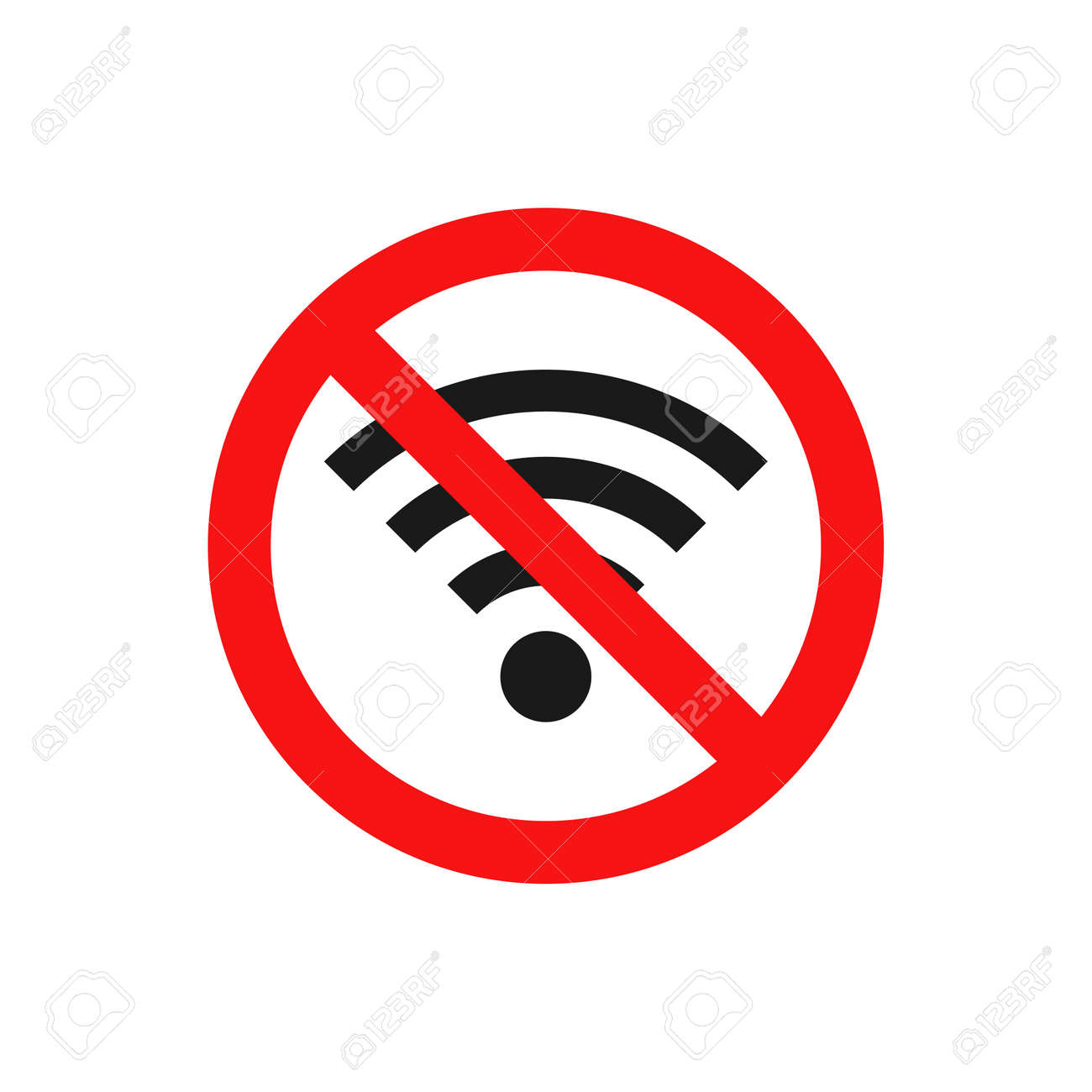No wifi icon. Red ban circle sign. Prohibition wireless network pictogram. No internet concept. Wireless technology symbol. Vector isolated on white background - 166552619