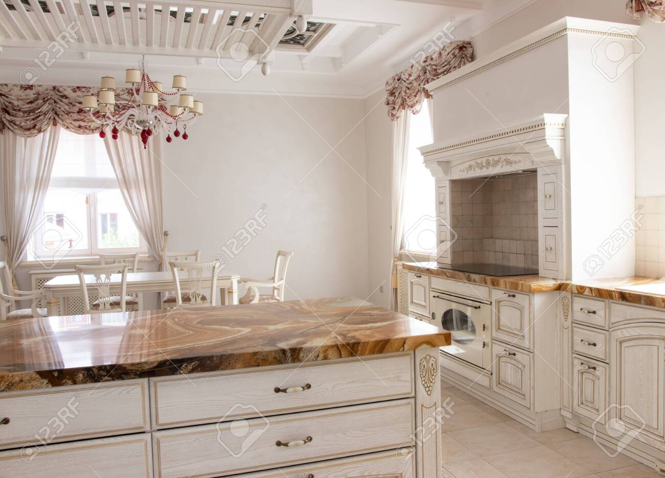 beautiful interior of the kitchen area - 135513899