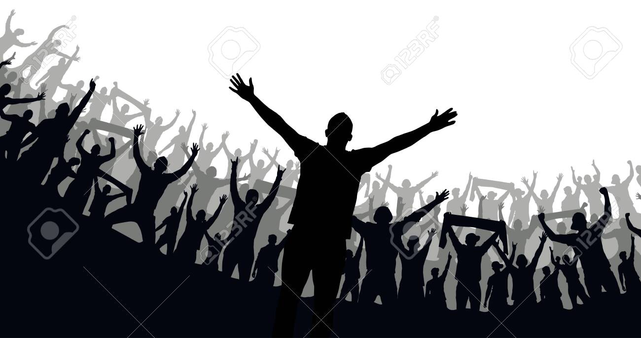 Crowd of fans. Happy people have fun celebrating. Thumbs up. Group of friends.A crowd of cheerful people at a party, holiday.The applause of the people, hands up.Silhouette Of A Vector Illustration - 158572924