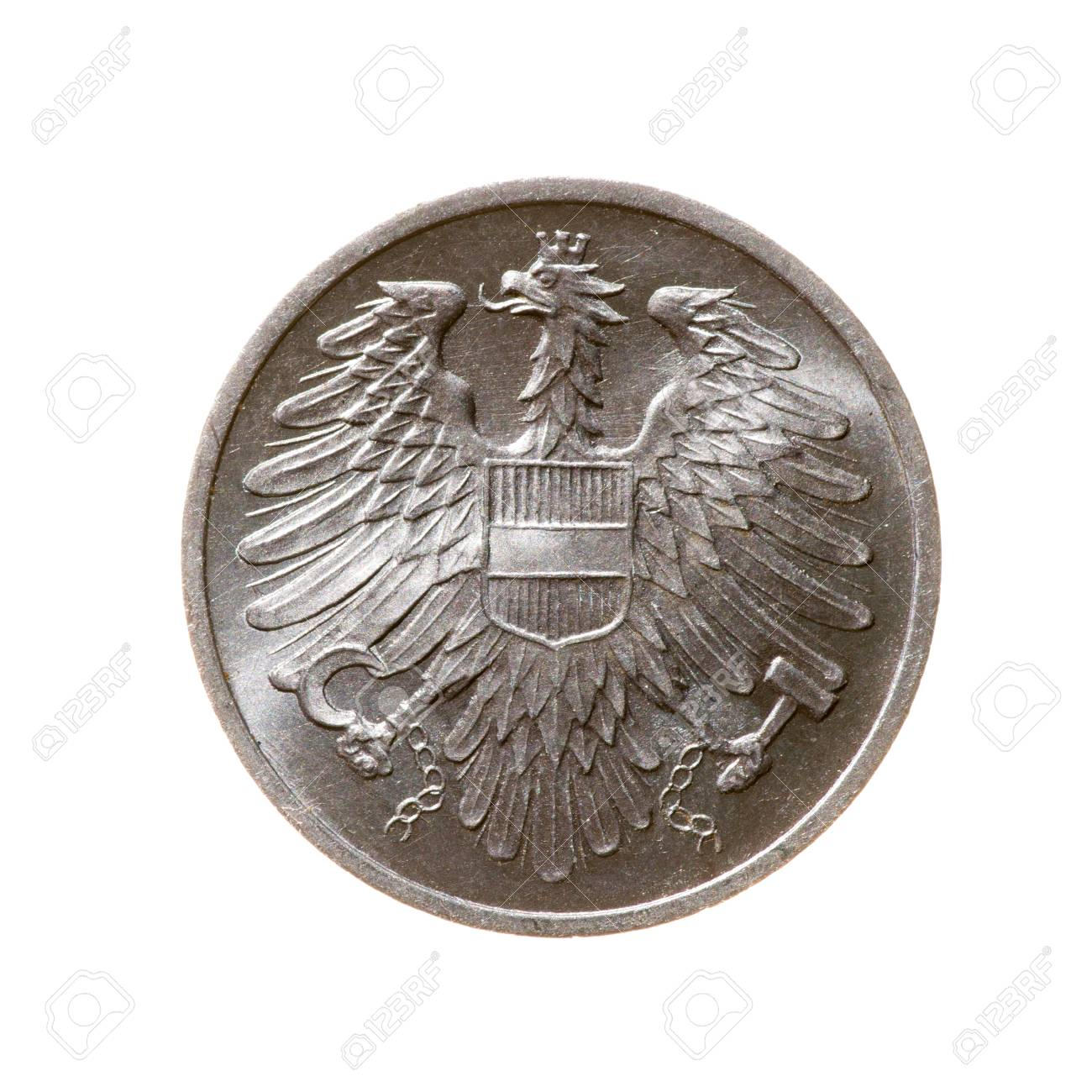 Zwei Cent Münze österreich Auf Einem Weißen Hintergrund Top View