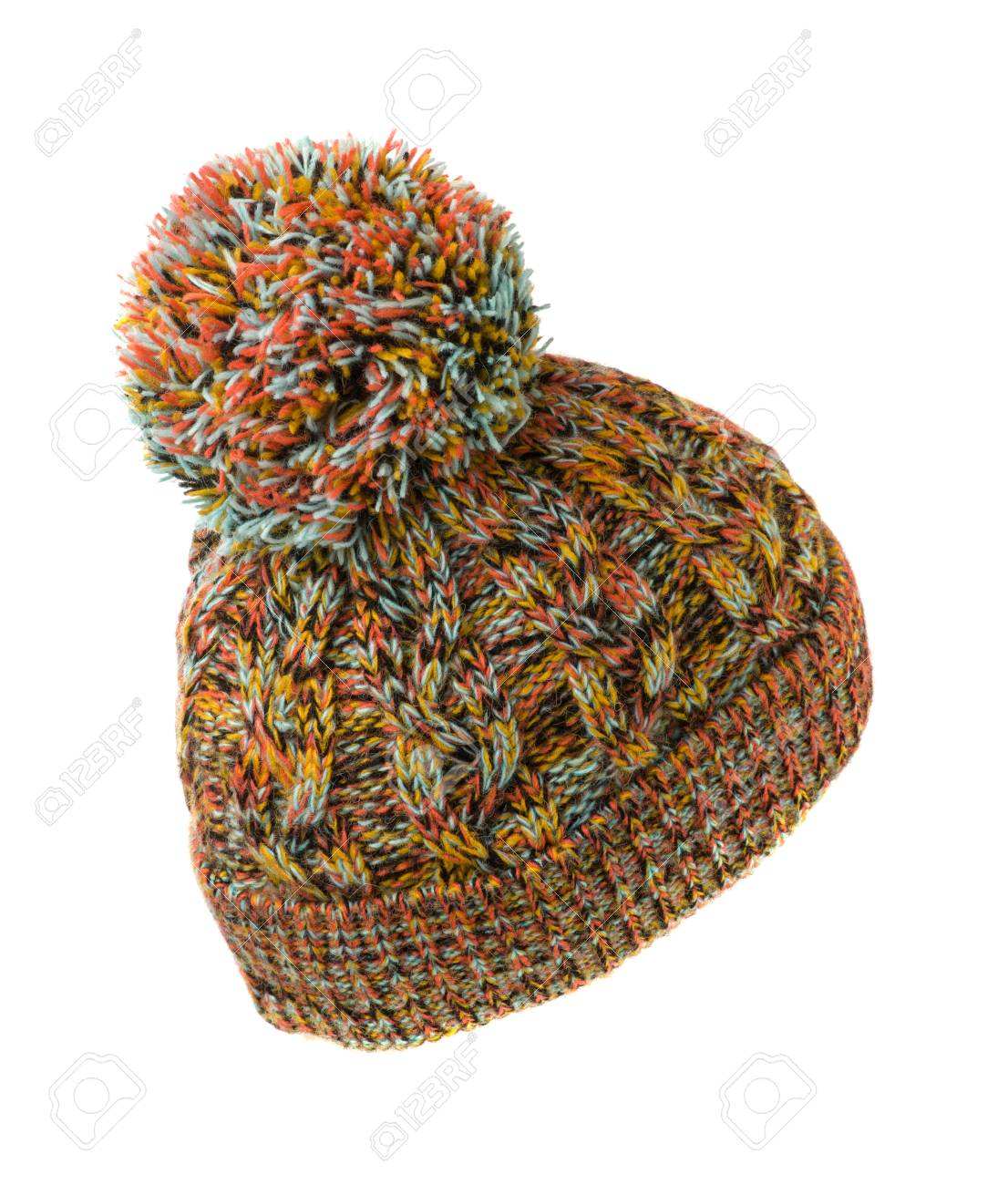 235c535b4 colorful knitted hat with pompom isolated on white background..