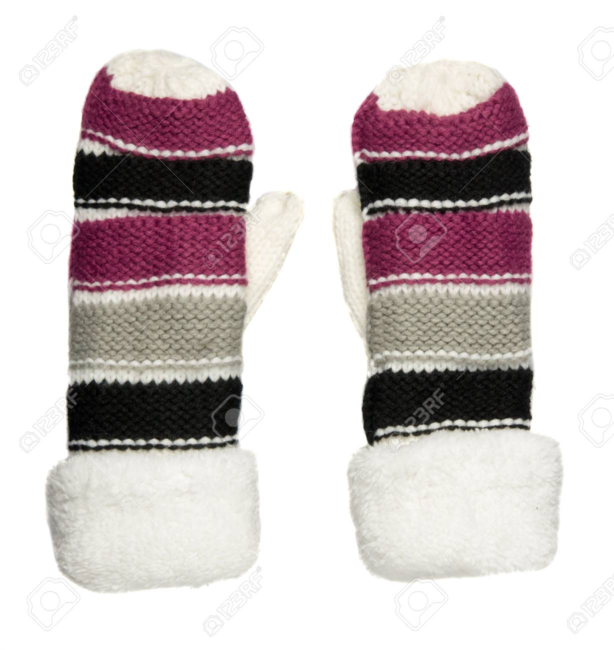 Mittens Isolated On White Background. Knitted Mittens. Mittens ...