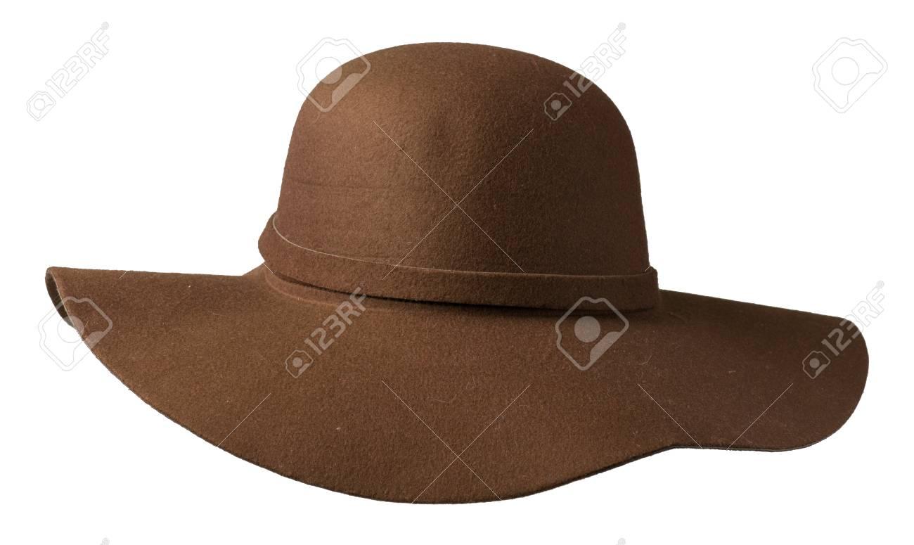 Foto de archivo - Sombrero de fieltro. sombrero aislado sobre fondo blanco sombrero  marrón. b7a7d332203