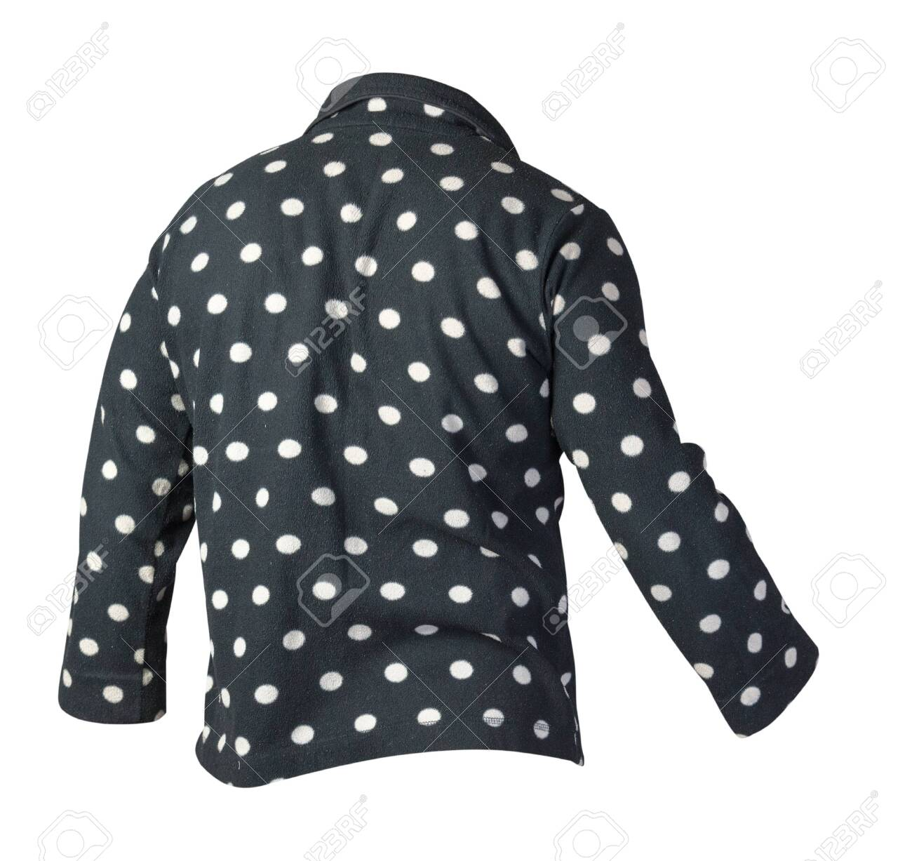 Female knitted black and white polka dot sweater isolated on..