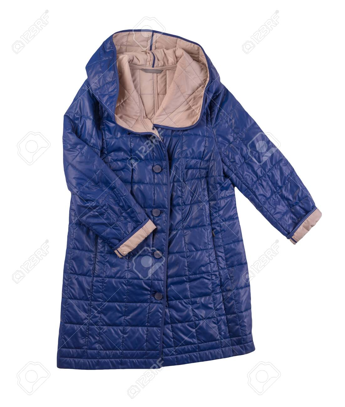 female blue beige coat with a hood Isolated on a white background. autumn women's coat not wet from the rain top view - 142170572