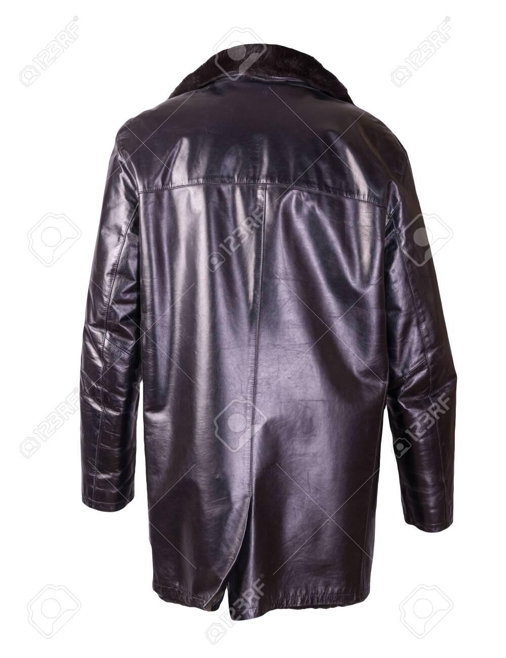 leather male sheepskin coat isolated on white background.black leather men's jacket with fur - 146341512