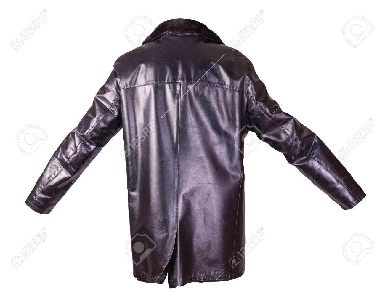 leather male sheepskin coat isolated on white background.black leather men's jacket with fur - 146486124