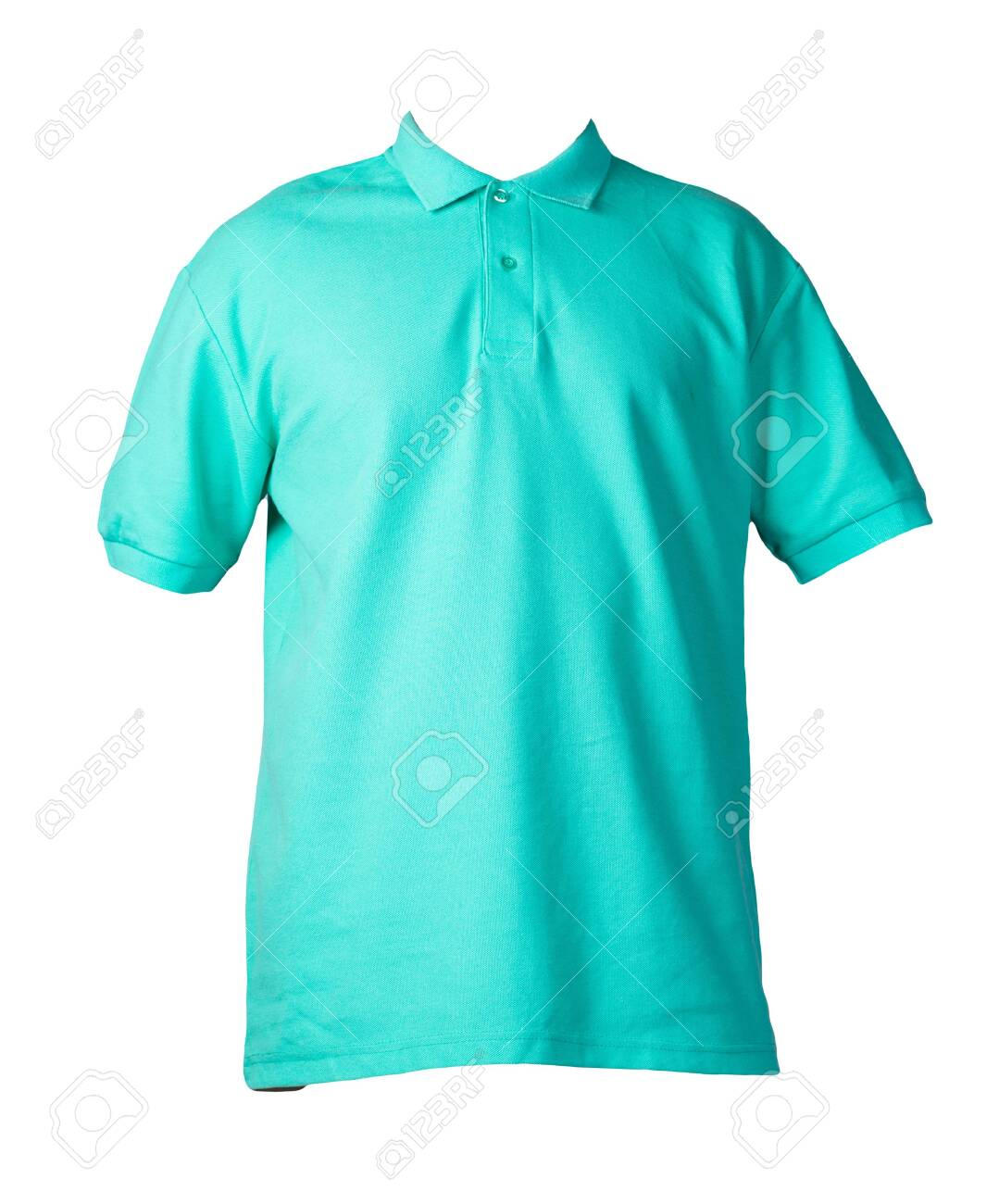 short sleeved green t-shirt with button-down collars isolated on white background cotton shirt . Casual style - 147649760