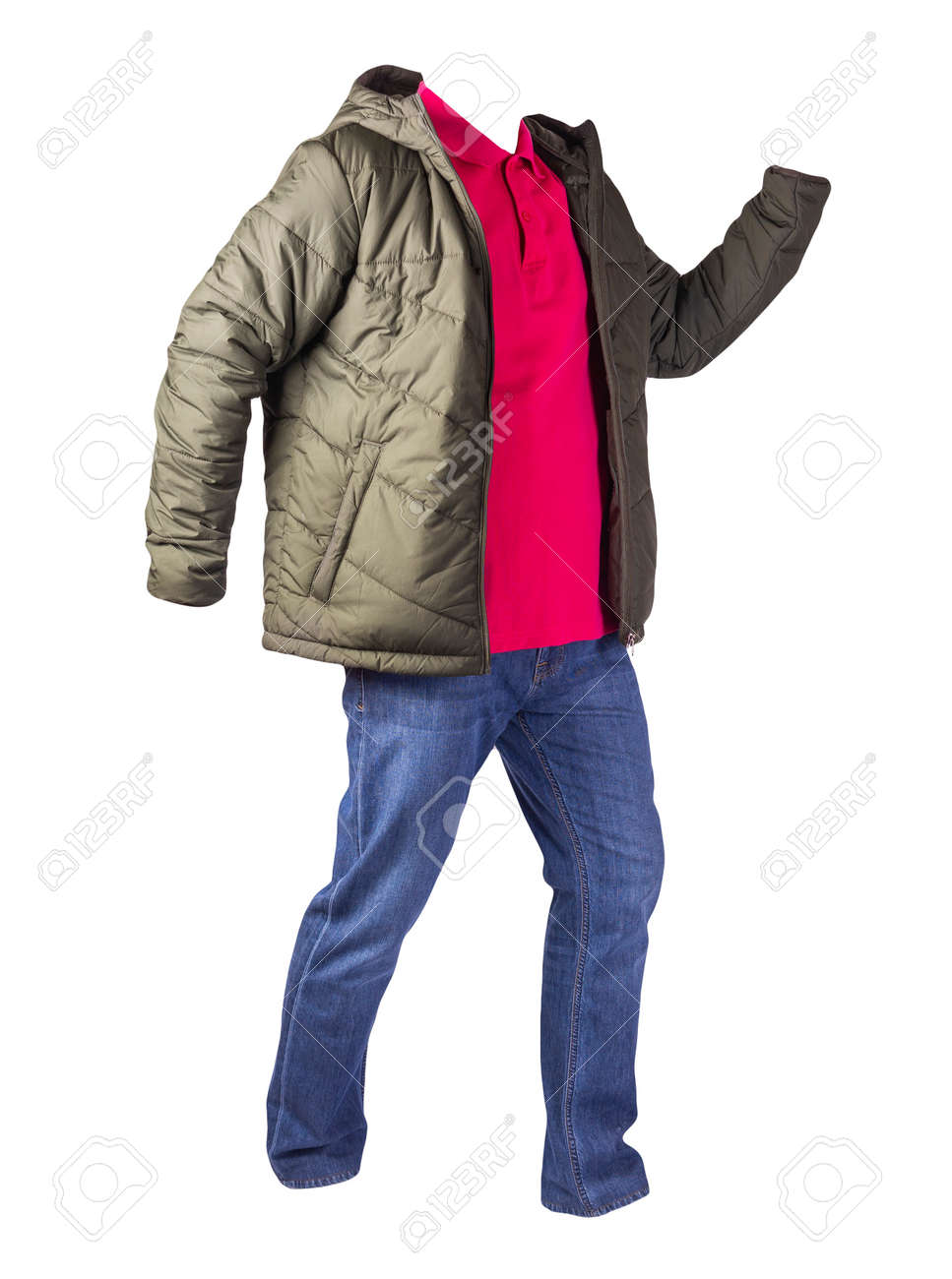 green jacket with zipper, red shirt and blue jeans isolated on white background. casual fashion clothes - 160401212