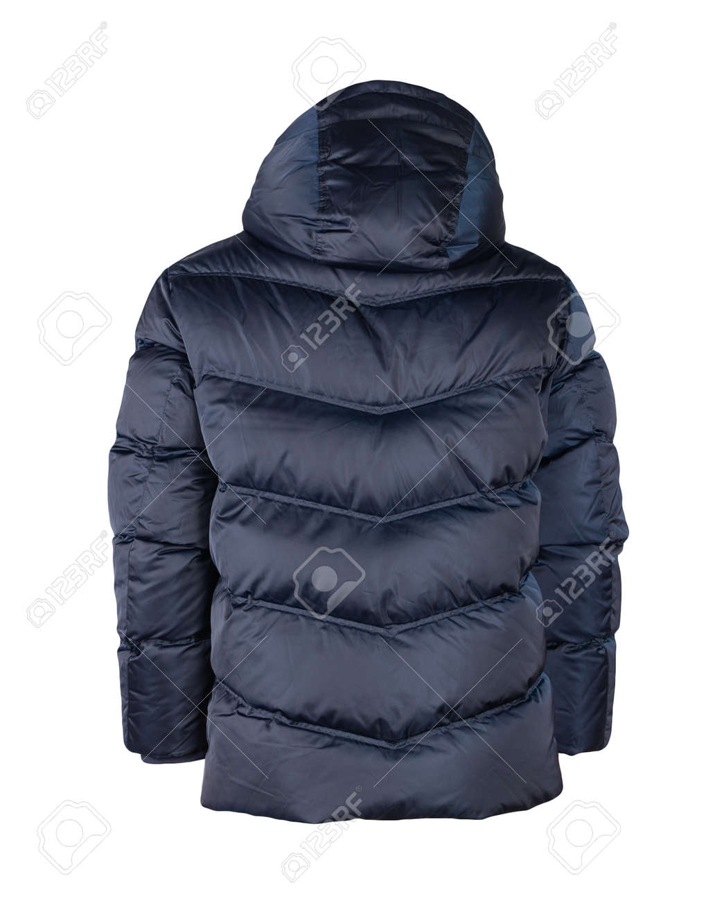 men's winter dark blue down jacket with a hood isolated on a white background. fashionable clothes for every day - 165939380