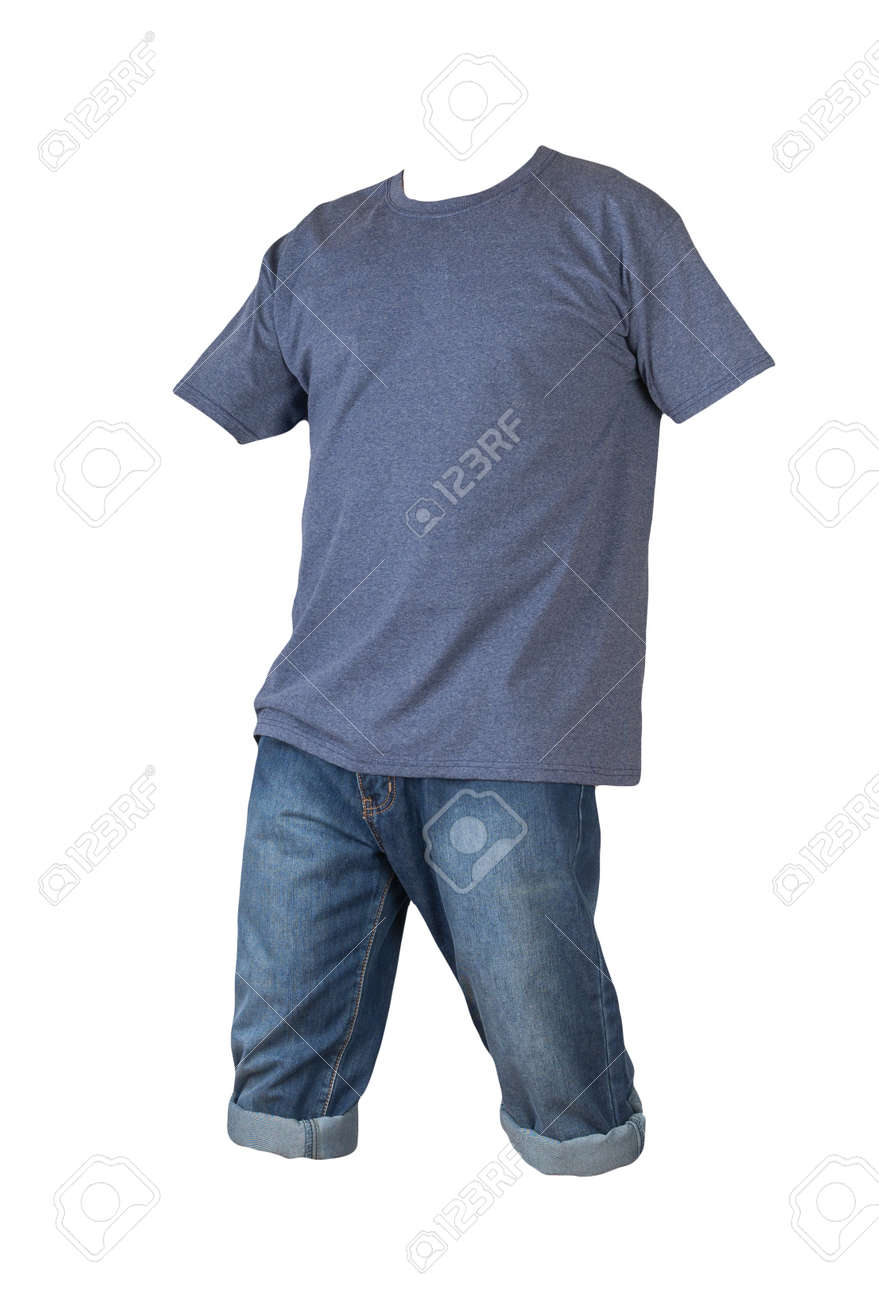 denim dark blue shorts and denimt-shirt isolated on white background. men's jeans orders - 172073792