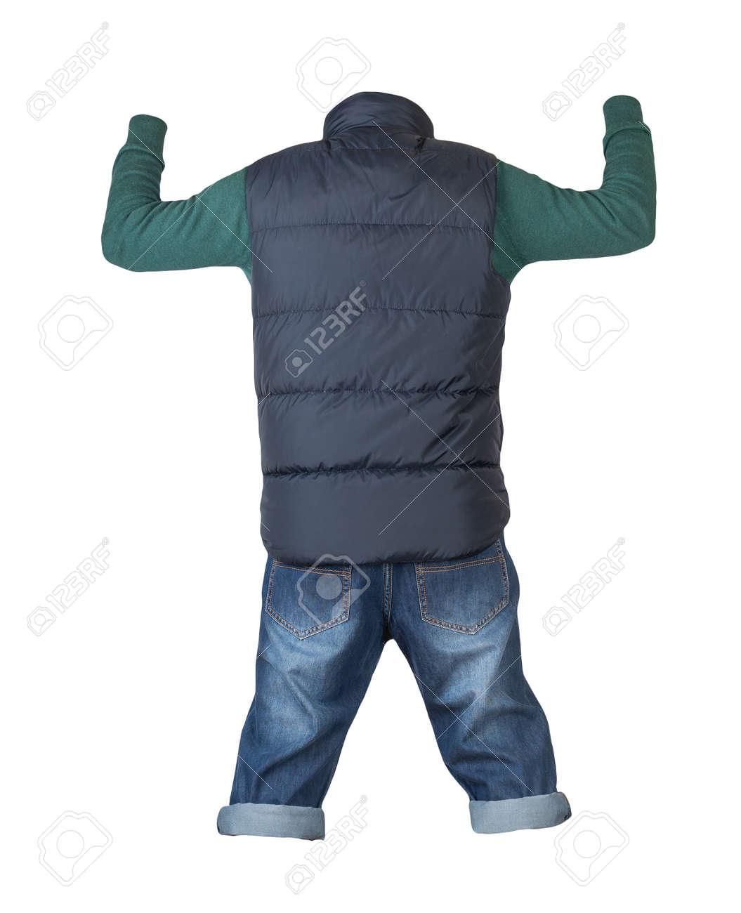 denim dark blue shorts, green knitted sweater and dark blue sleeveless jacket isolated on white background - 172115047
