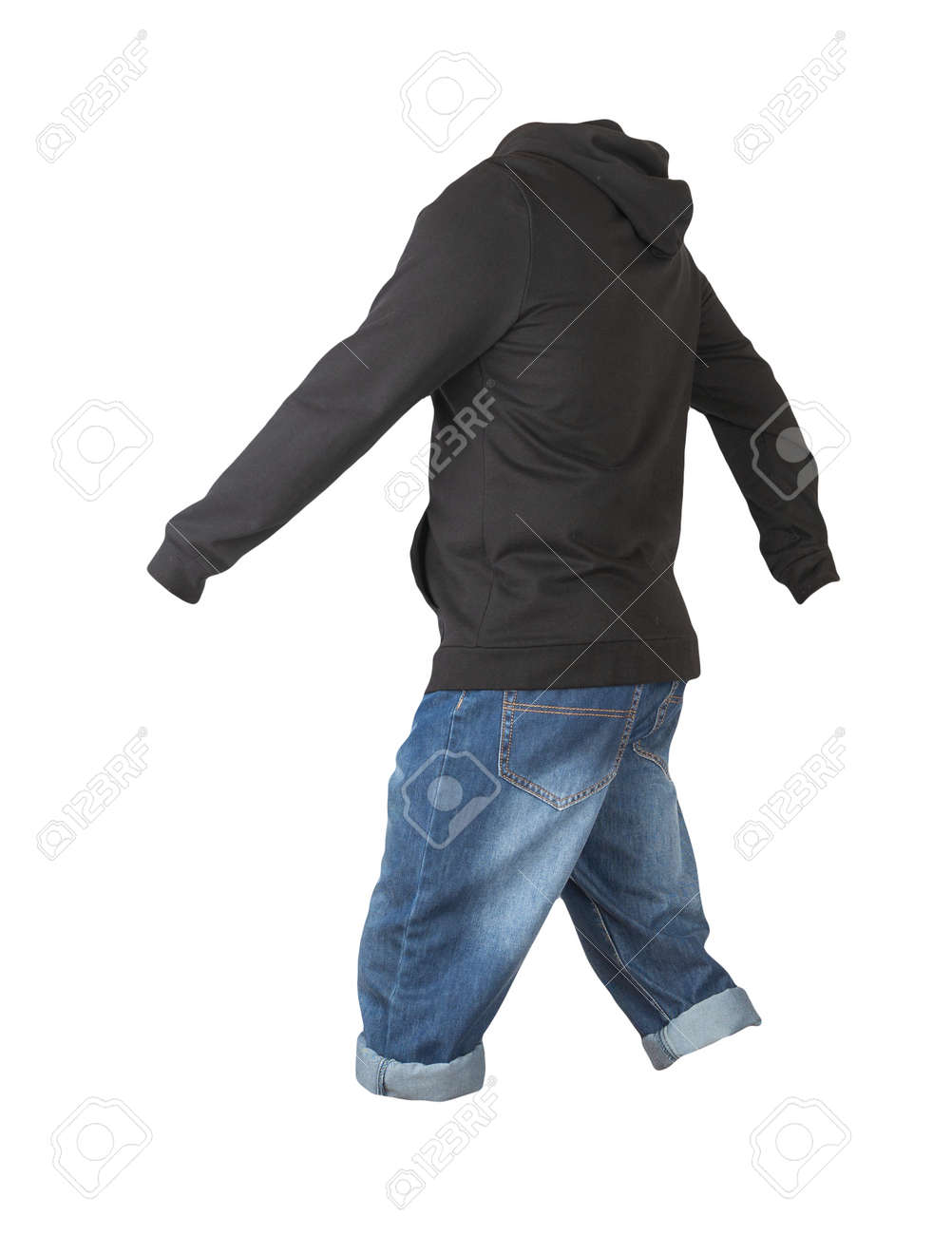 denim dark blue shorts and black hoodie isolated on white background. Men's jeans - 172073793