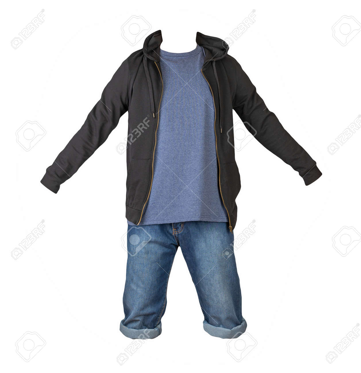 Denim dark blue shorts, navy t-shirt and black sweatshirt with zipper and hood isolated on white background - 172073955