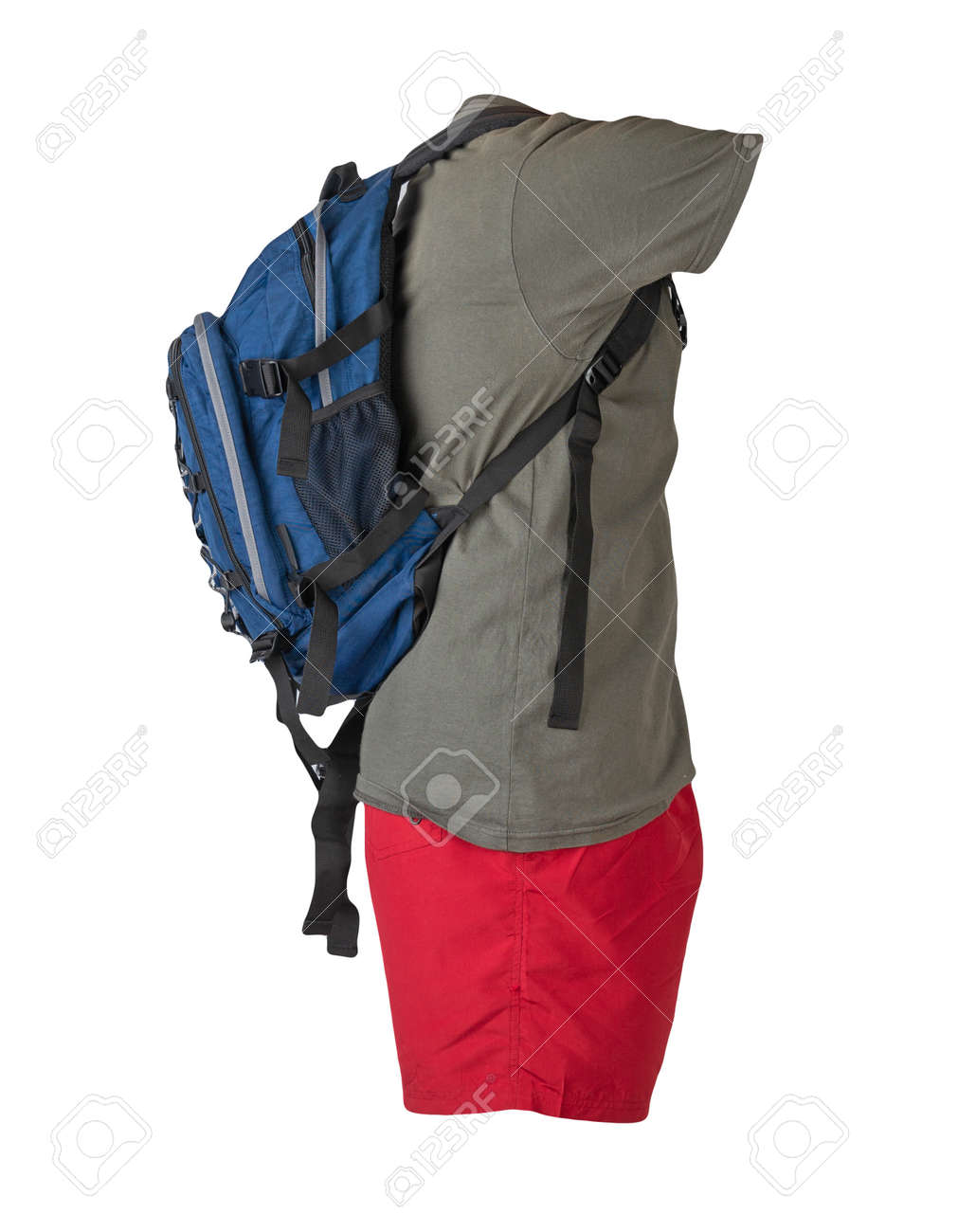 denim blue backpack, red sports shorts, gray t-shirt isolated on white foane. clothes for every day - 172073709