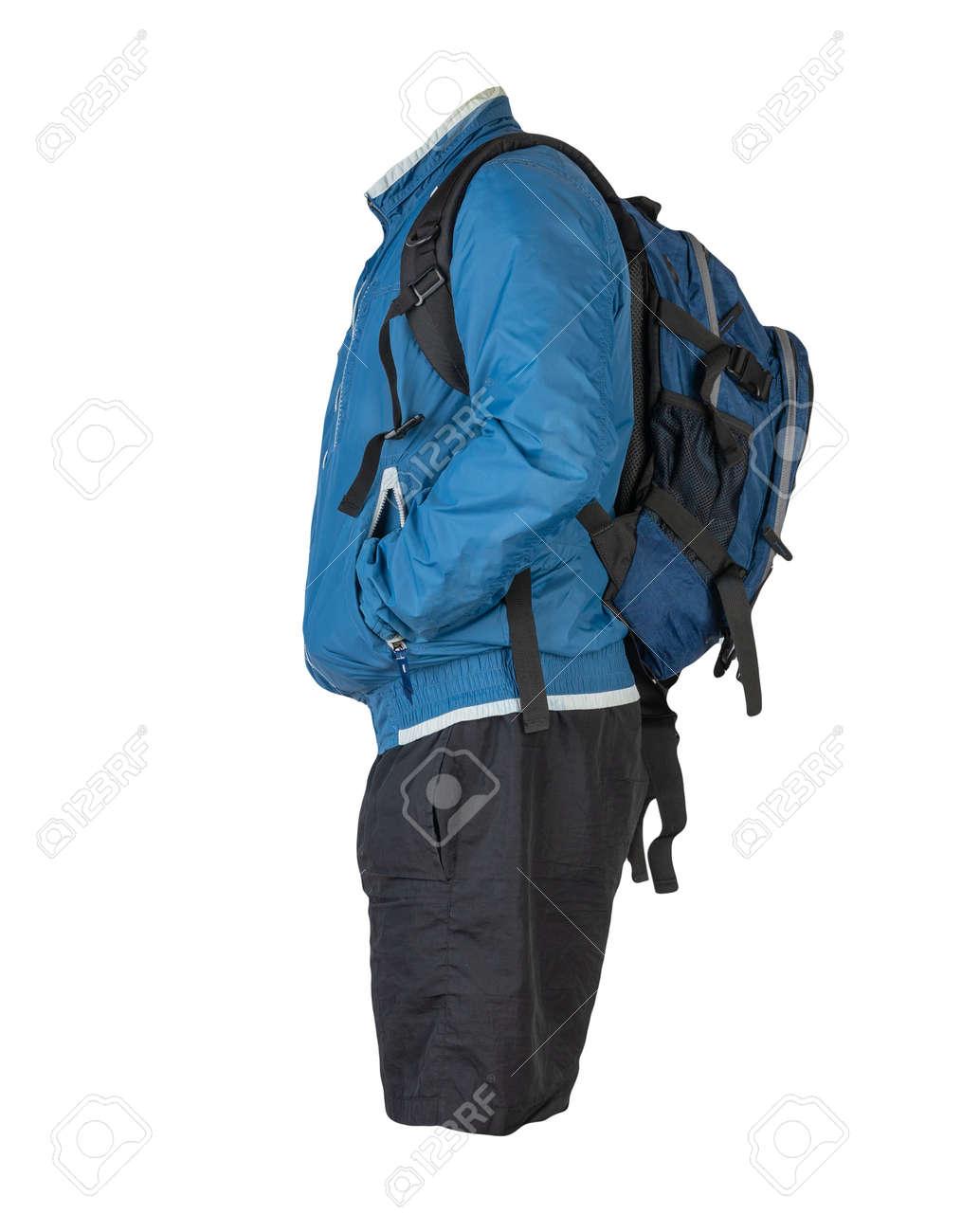 blue backpack, black shorts, blue summer windbreaker jacket isolated on white background. casual wear - 172073752