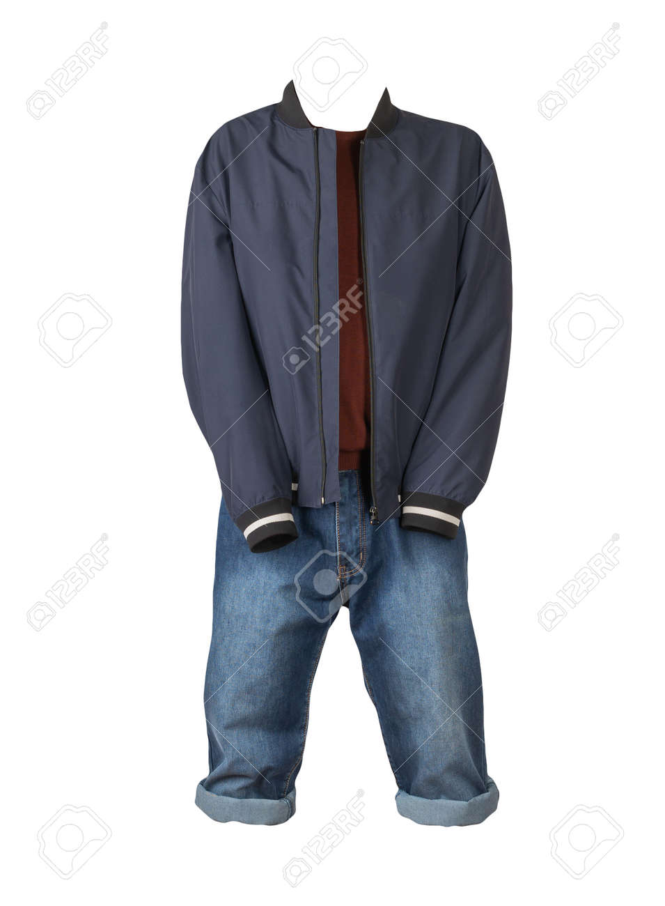 Denim blue shorts, dark red sweater and dark blue jacket on the zipper isolated on white background - 172078672