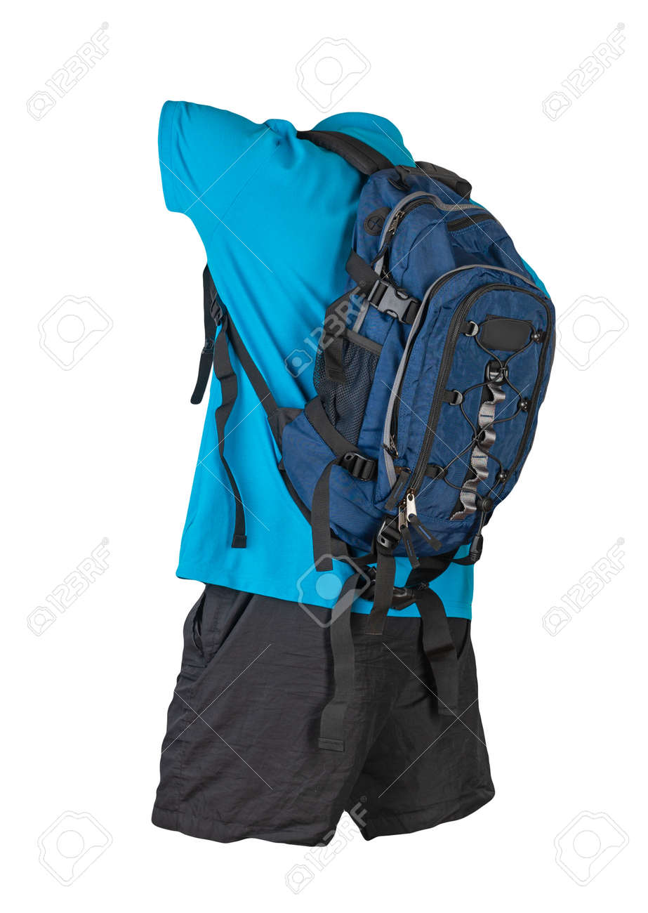 denim blue backpack, black sports shorts, blue shirt with a collar with buttons isolated on white foane. clothes for every day - 172073657