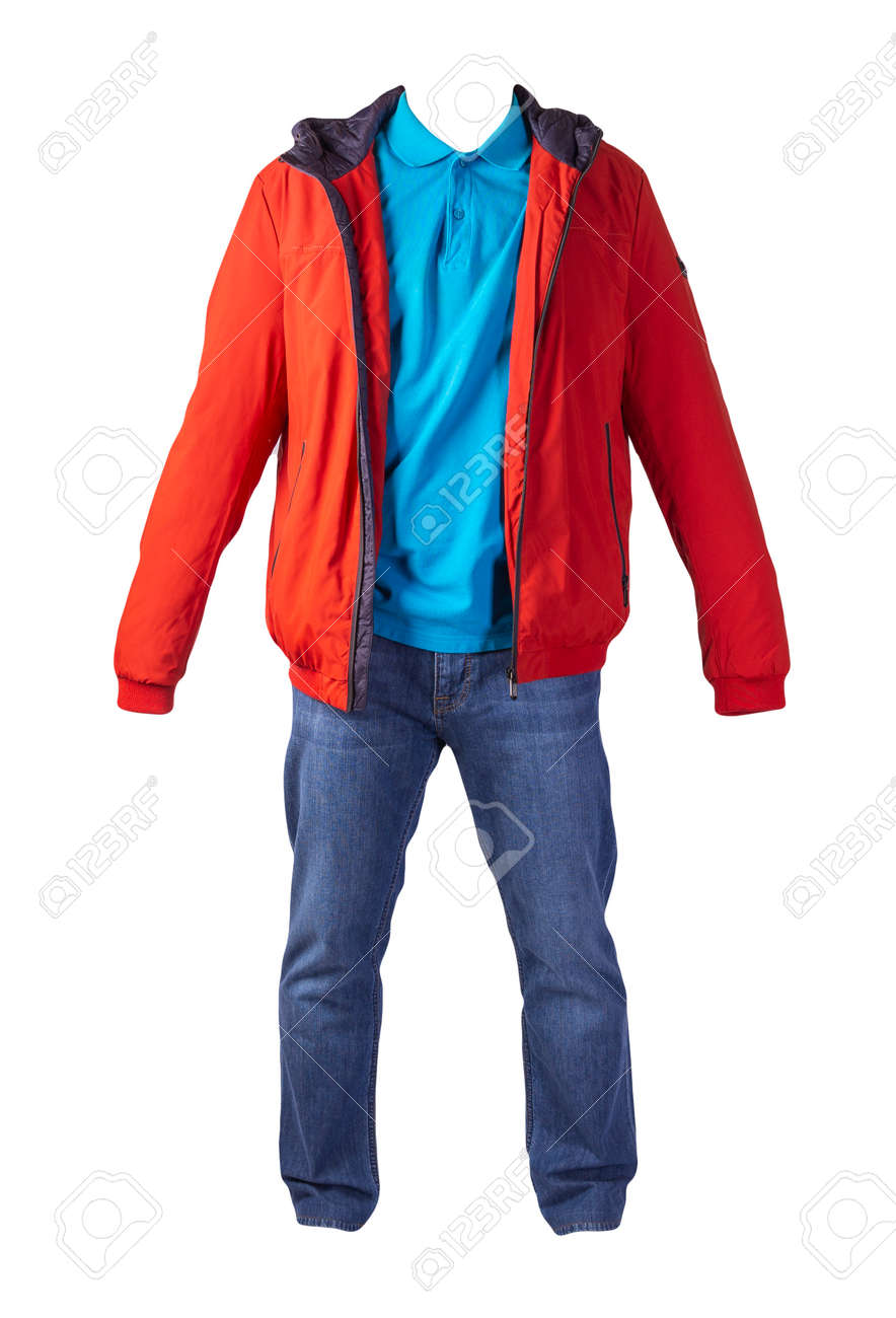 red jacket with zipper, blue shirt and blue jeans isolated on white background. casual fashion clothes - 172072359